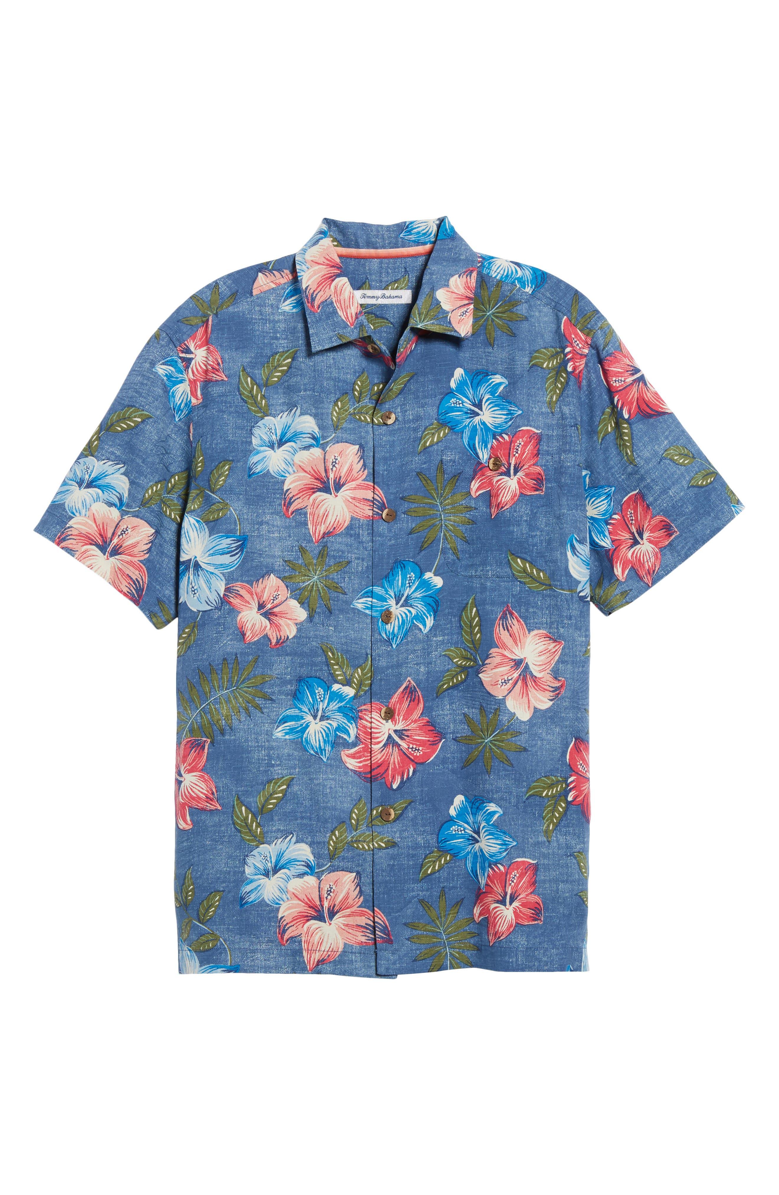 Hibiscus in the Mist Floral Silk Blend Sport Shirt,                             Alternate thumbnail 6, color,                             Dockside Blue