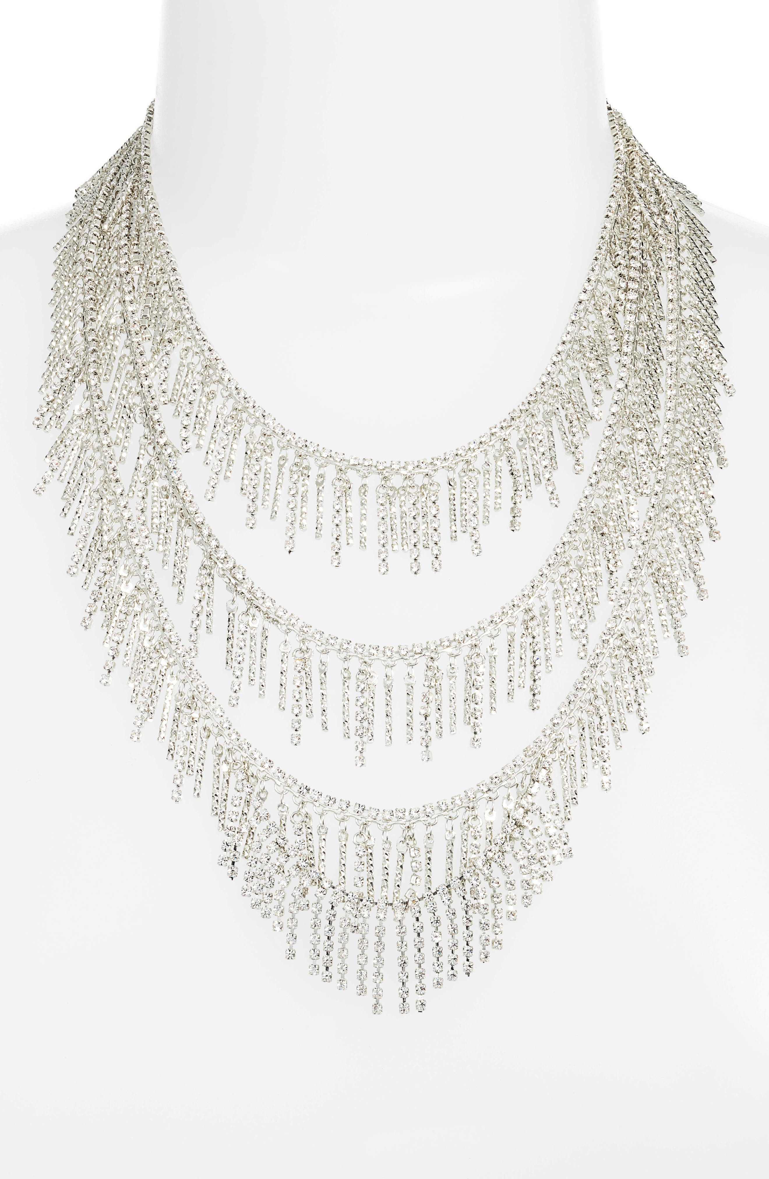 Three Row Crystal Fringe Necklace,                         Main,                         color, Silver