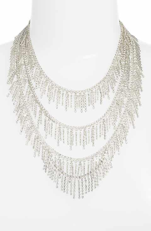 CRISTABELLE Three Row Crystal Fringe Necklace