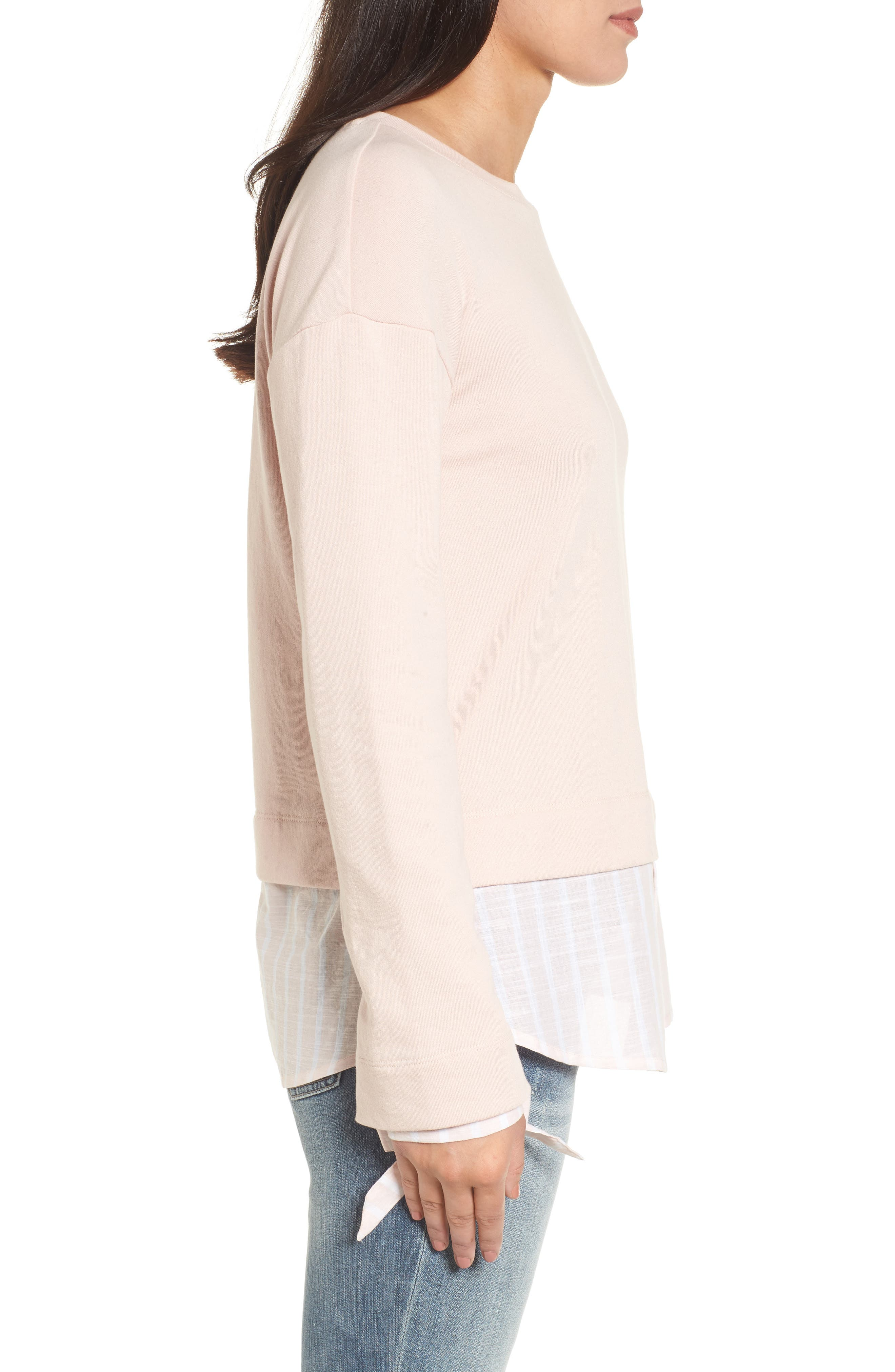 Woven Trim Layered Sweatshirt,                             Alternate thumbnail 3, color,                             Pink- Stripe Colorblock