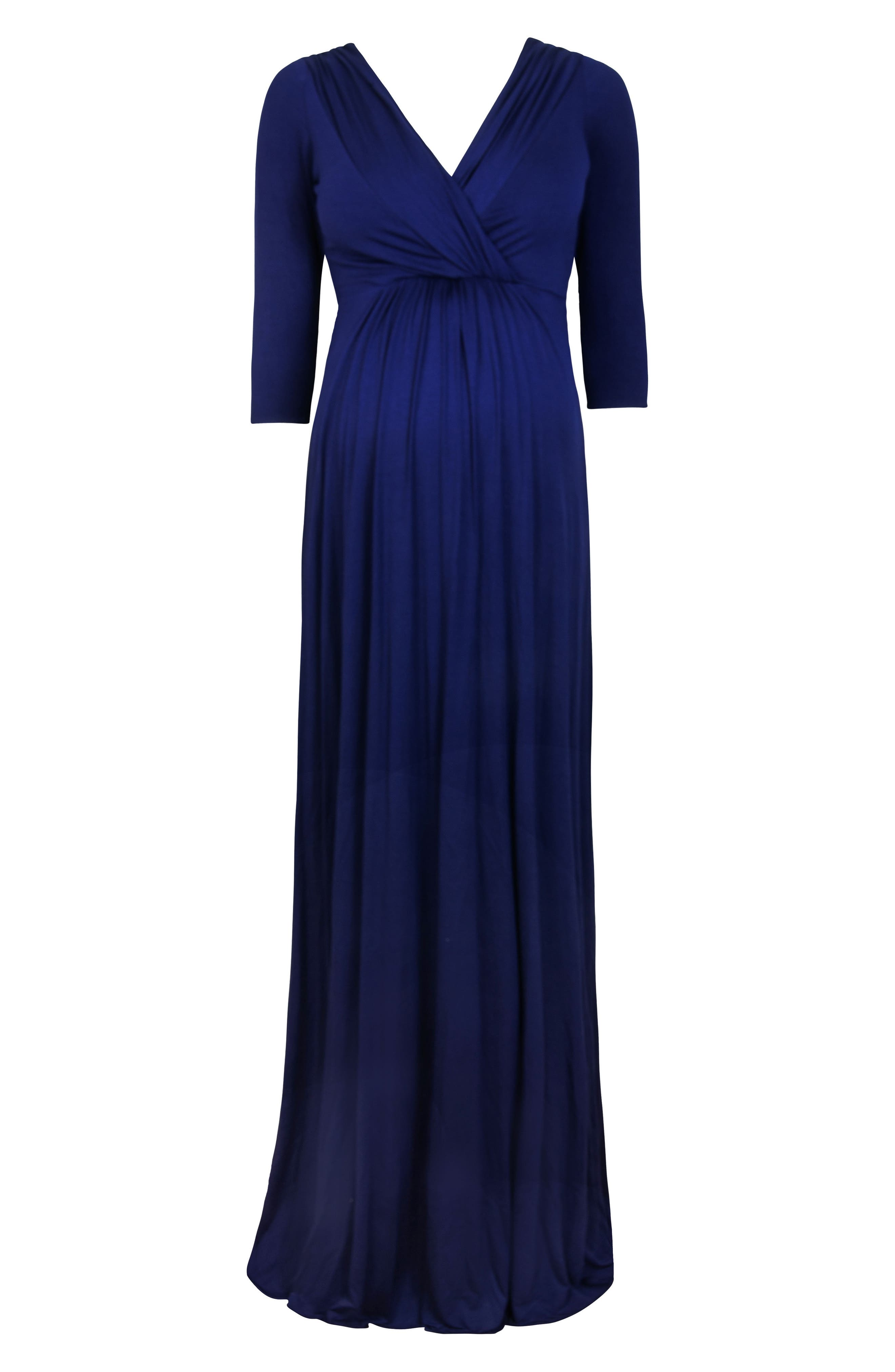 Willow Maternity Gown,                             Alternate thumbnail 3, color,                             Eclipse Blue