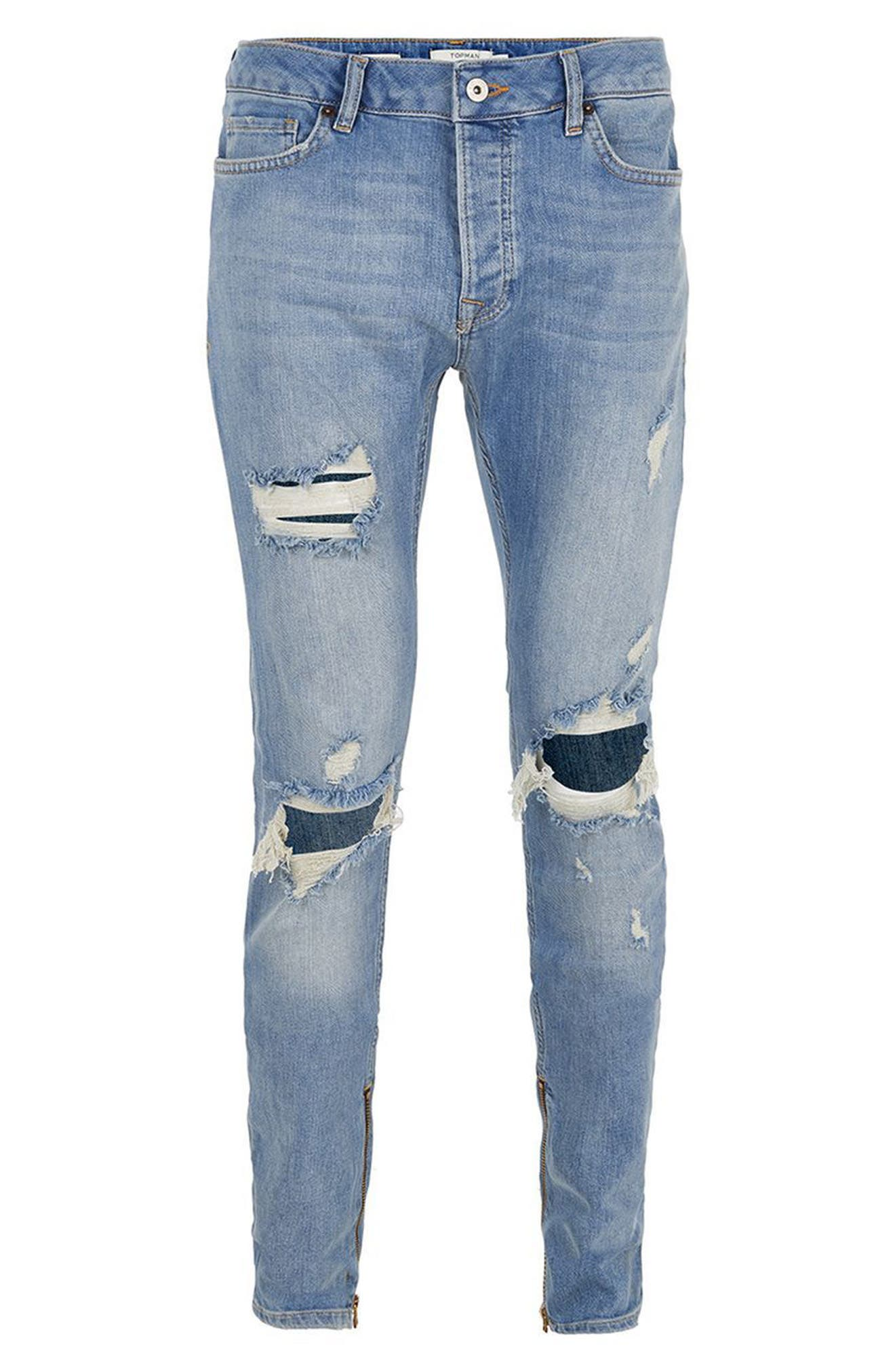 Destroyed Stacker Jeans,                             Alternate thumbnail 4, color,                             Blue