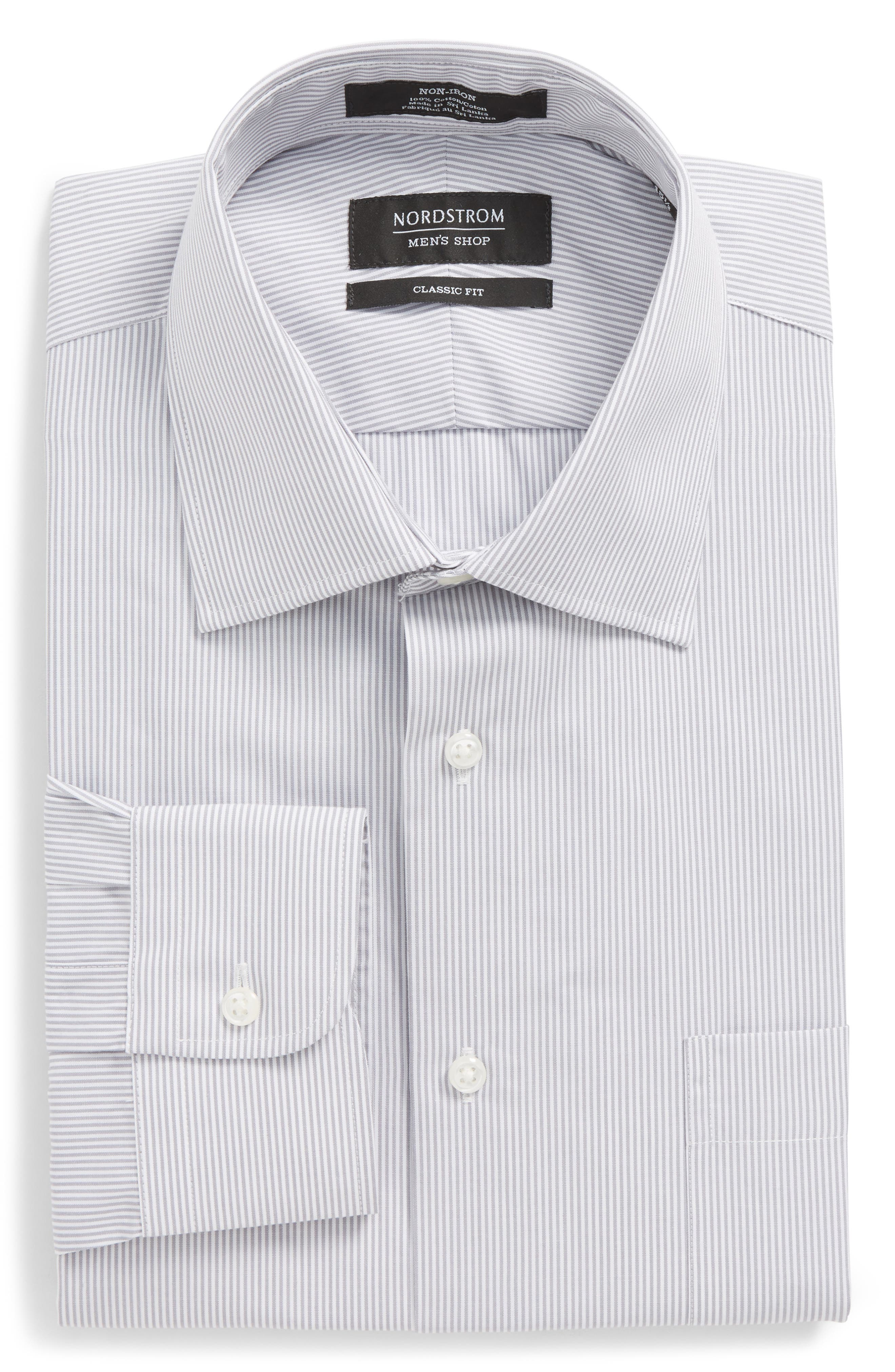Classic Fit Non-Iron Stripe Dress Shirt,                             Alternate thumbnail 6, color,                             Grey Micro