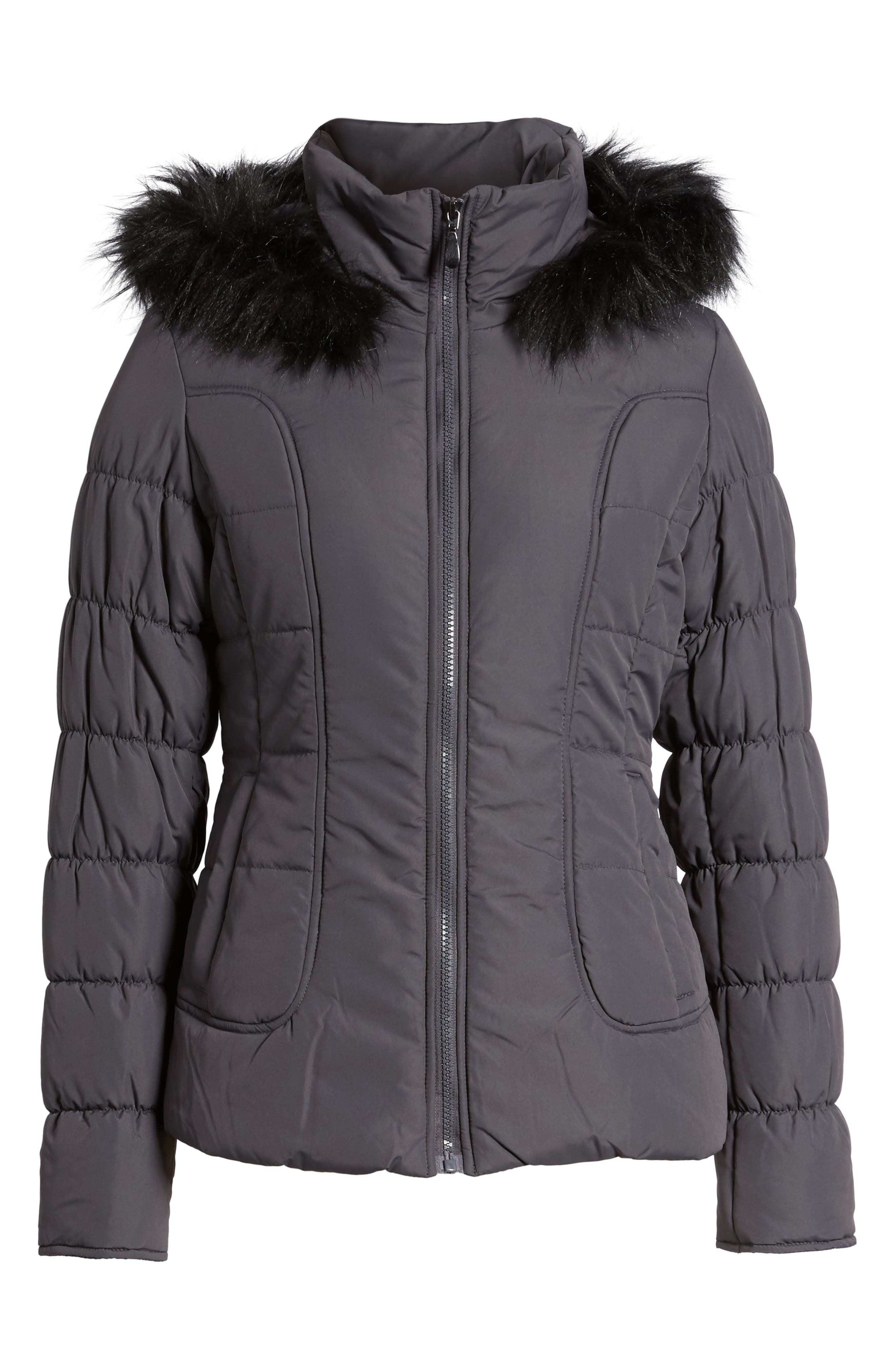 Quilted Jacket with Faux Fur Collar,                             Alternate thumbnail 6, color,                             Concrete