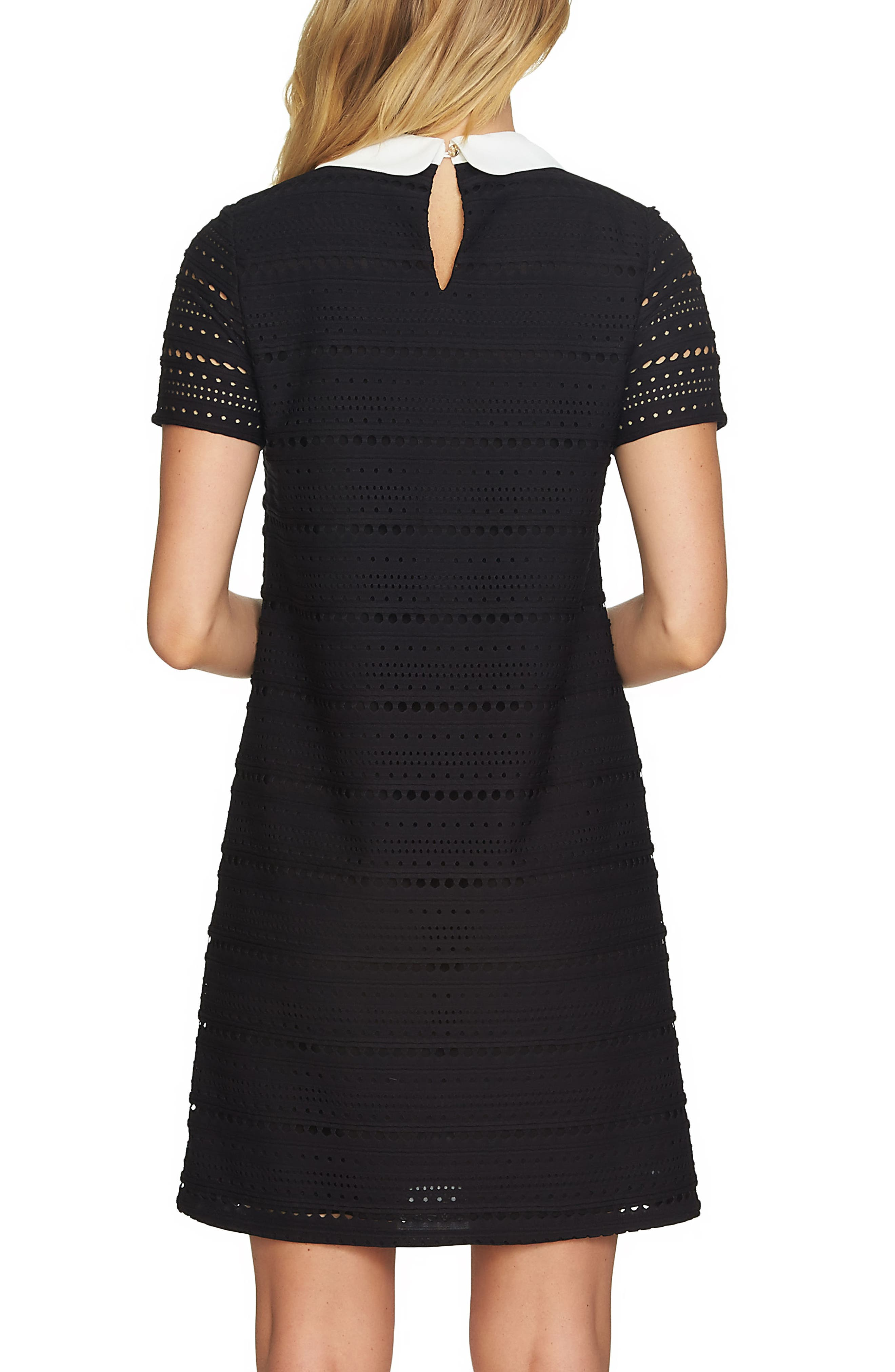Eyelet Knit A-Line Dress,                             Alternate thumbnail 2, color,                             Rich Black