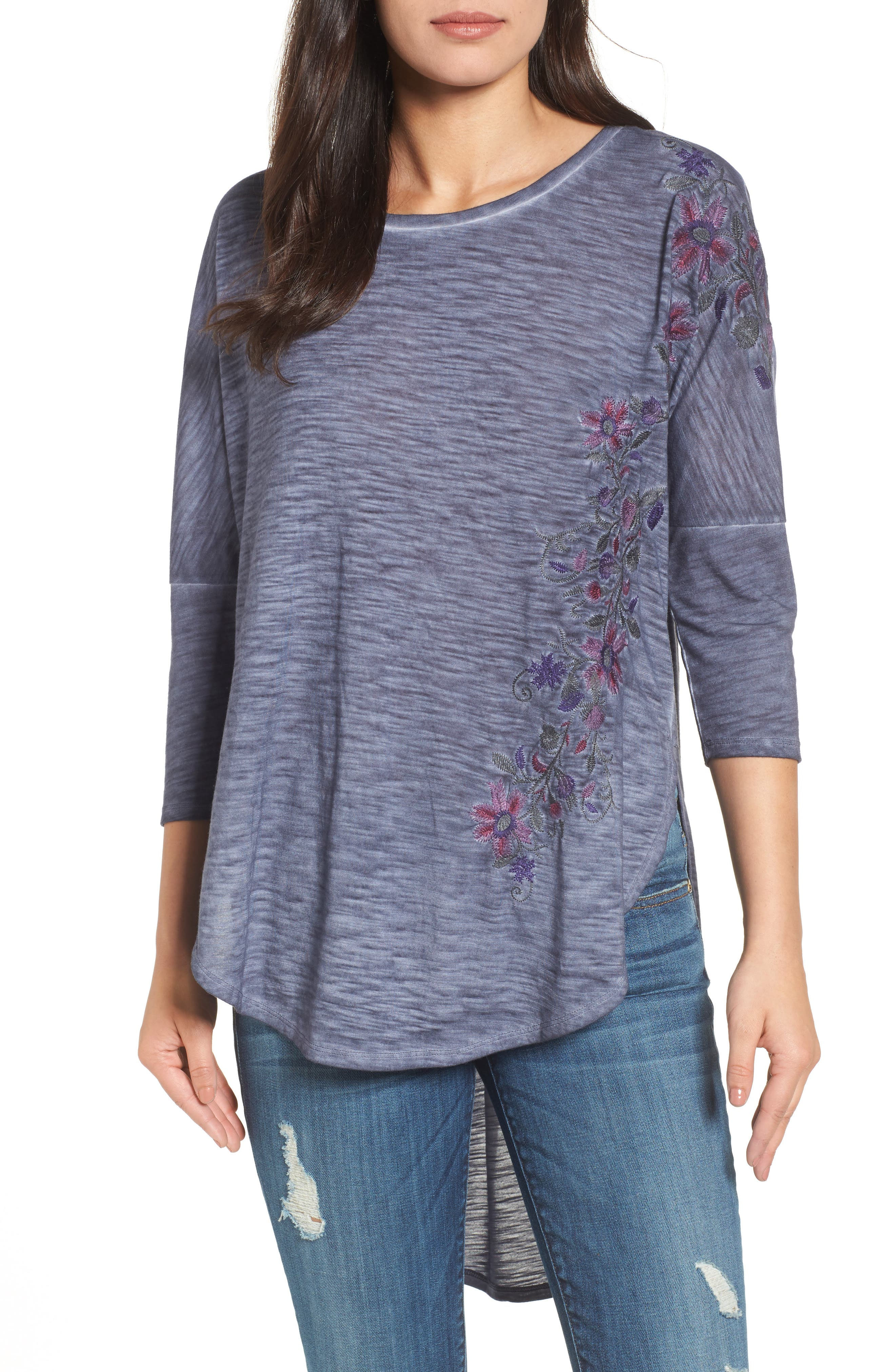Billy T Embroidered Slub Knit Top