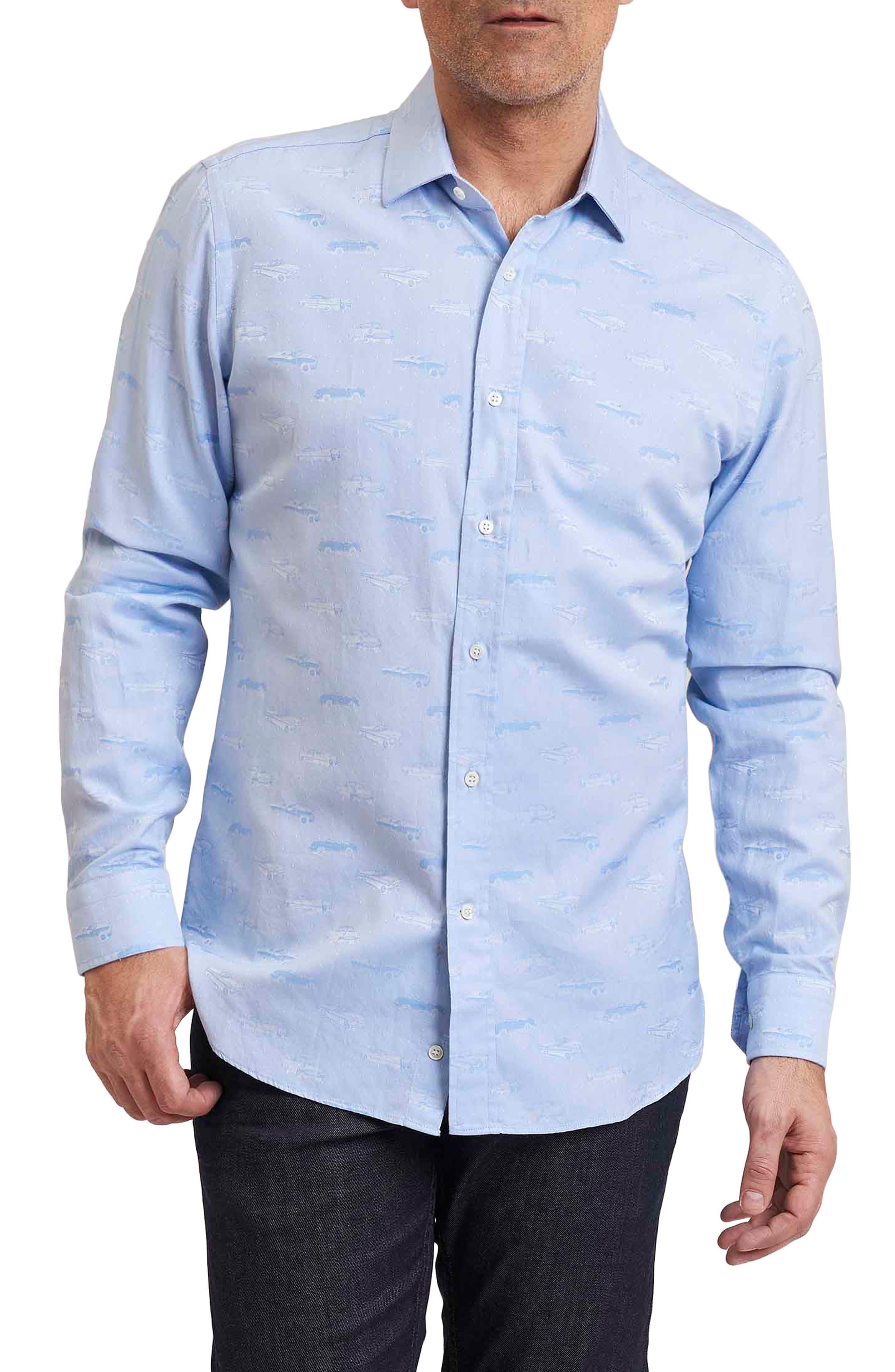 Regular Fit Ragtop Jacquard Sport Shirt,                         Main,                         color, Blue