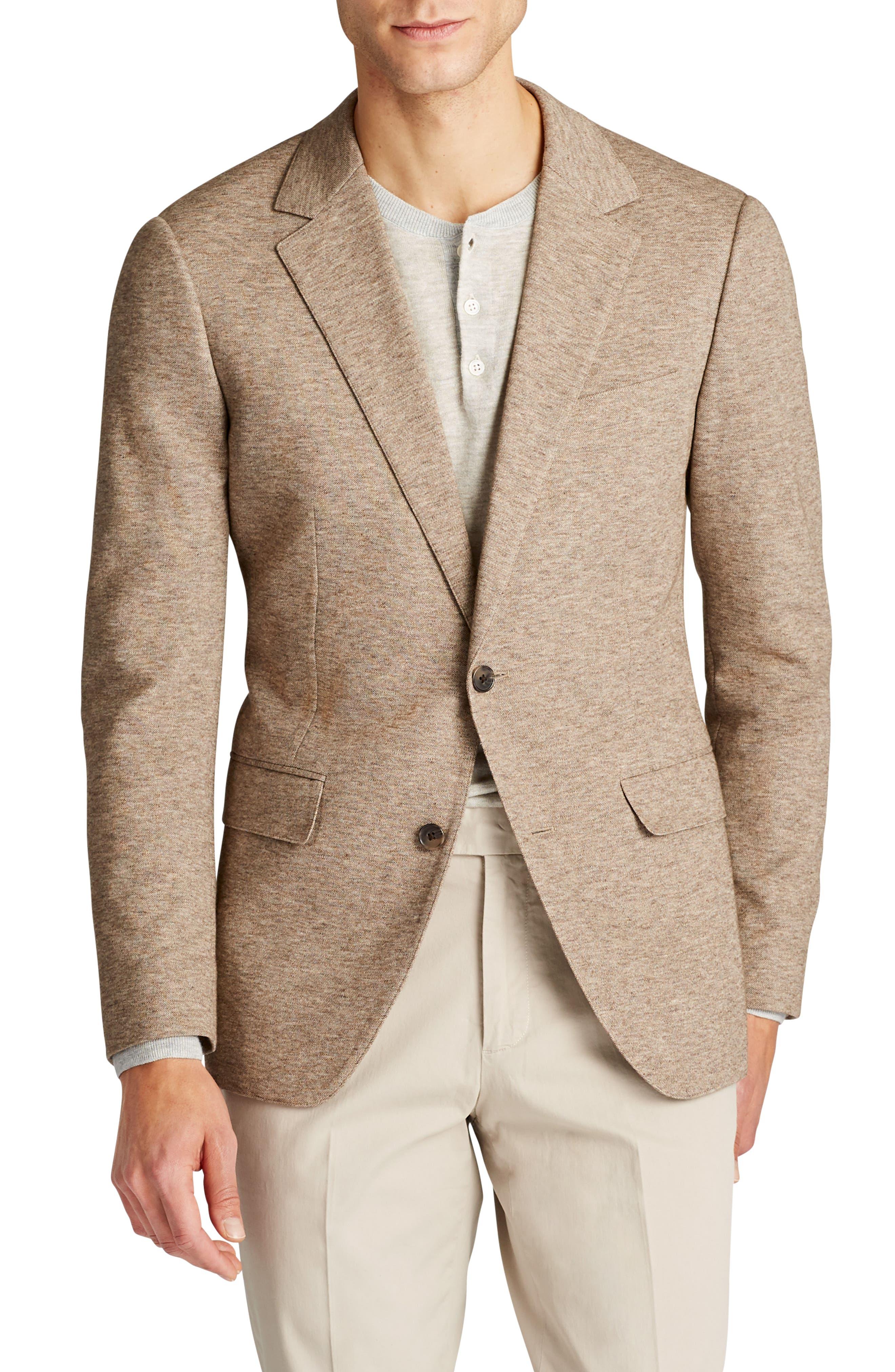 Jetsetter Slim Fit Knit Cotton Blazer,                         Main,                         color, Brown Melange Knit