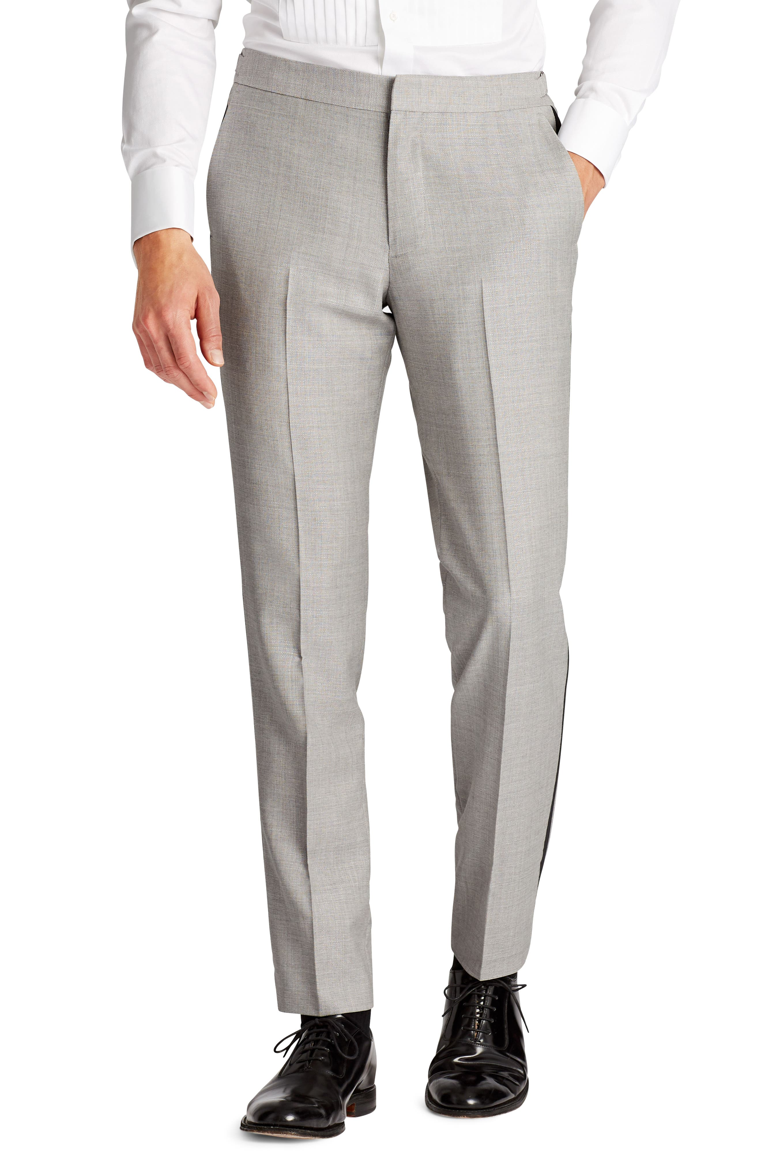 Capstone Flat Front Tuxedo Trousers,                         Main,                         color, Pearl Grey