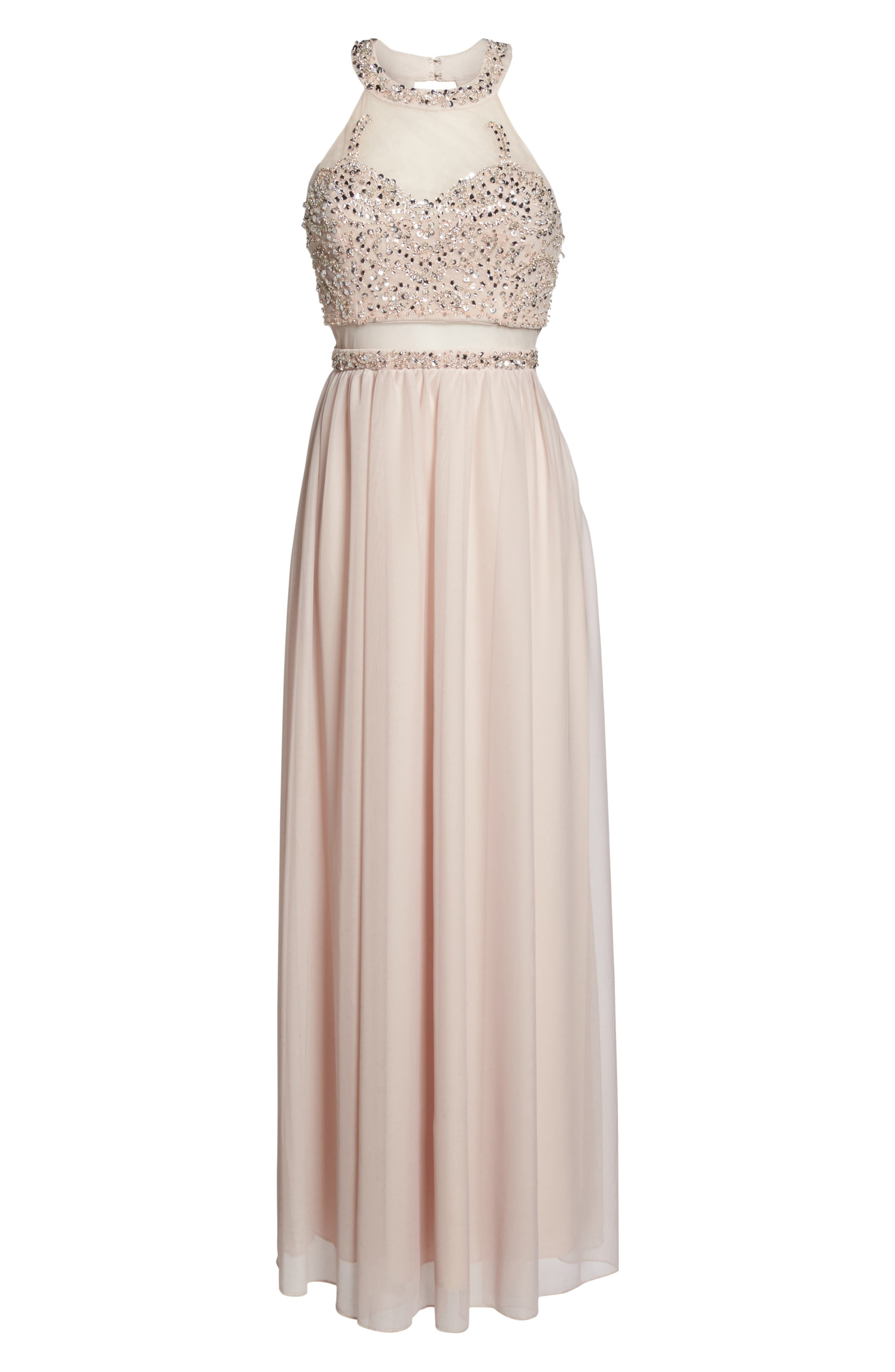 Beaded Jersey Halter Gown,                             Alternate thumbnail 6, color,                             Buff