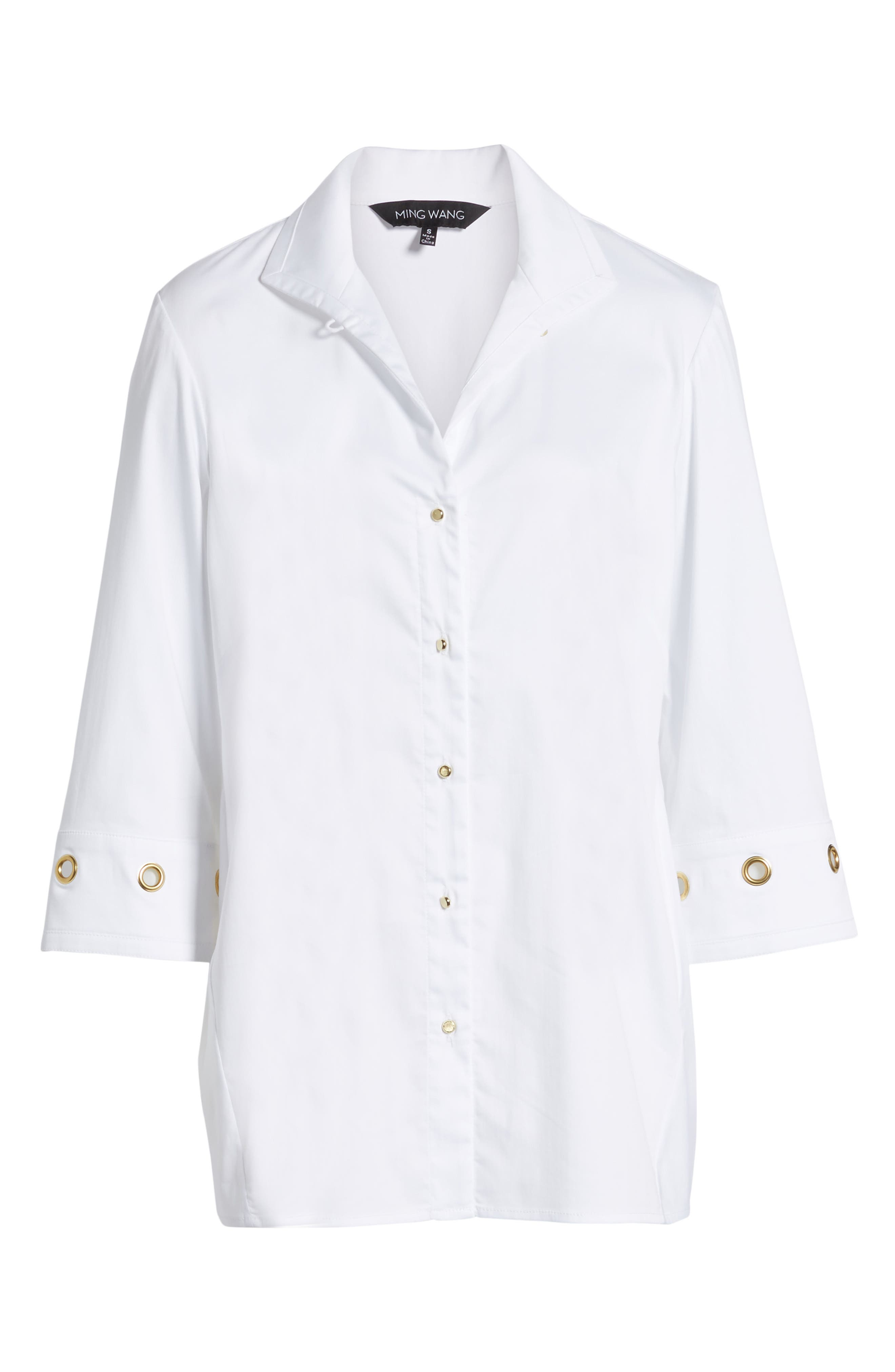 Alternate Image 6  - Ming Wang Grommet Sleeve Shirt