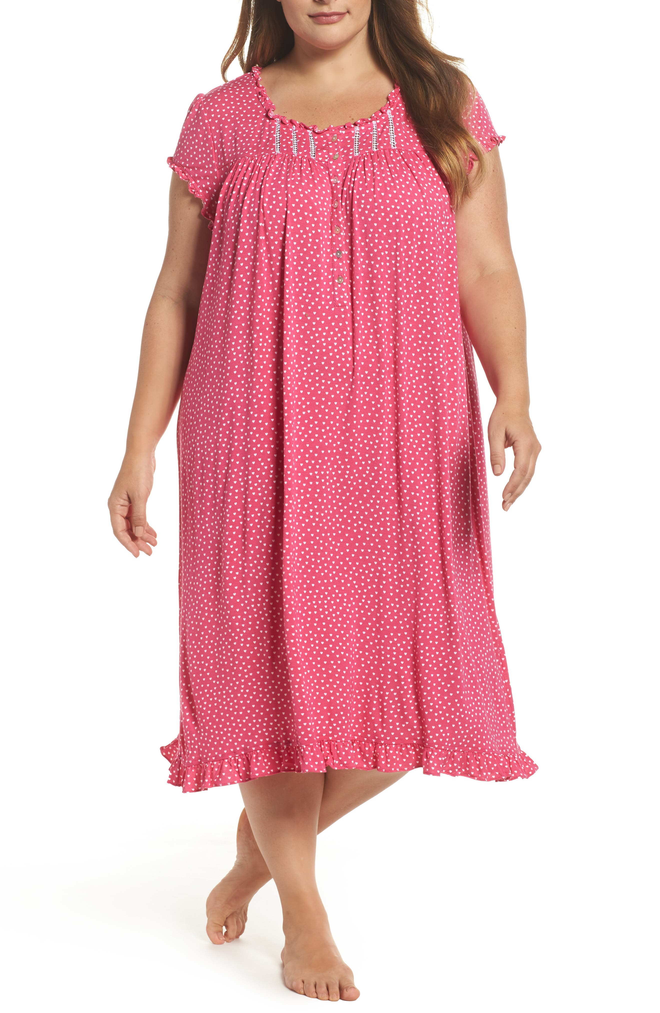 Modal Jersey Nightgown,                         Main,                         color, Peony White Hearts