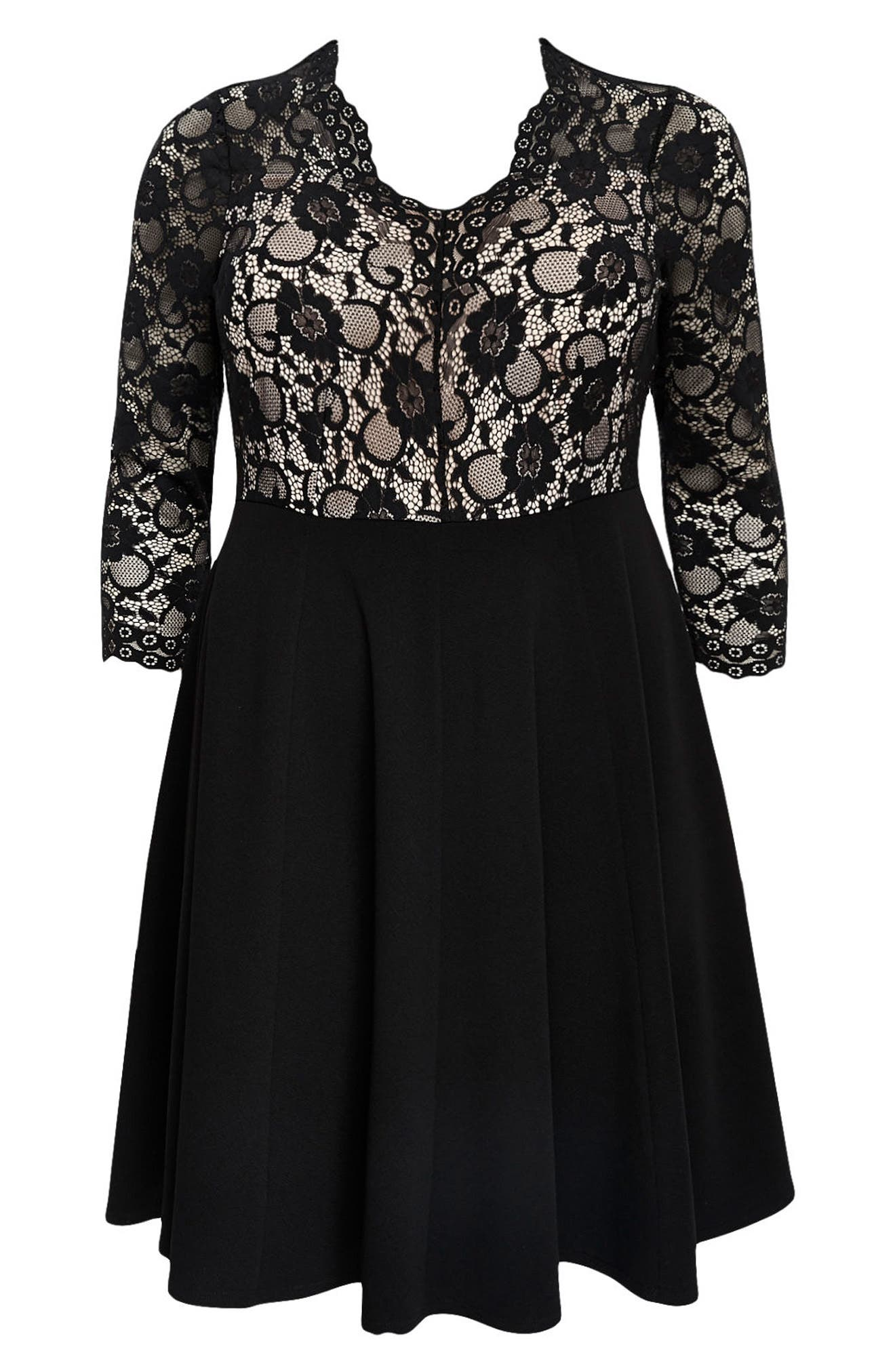 Scallop Lace Fit & Flare Dress,                             Alternate thumbnail 6, color,                             Black