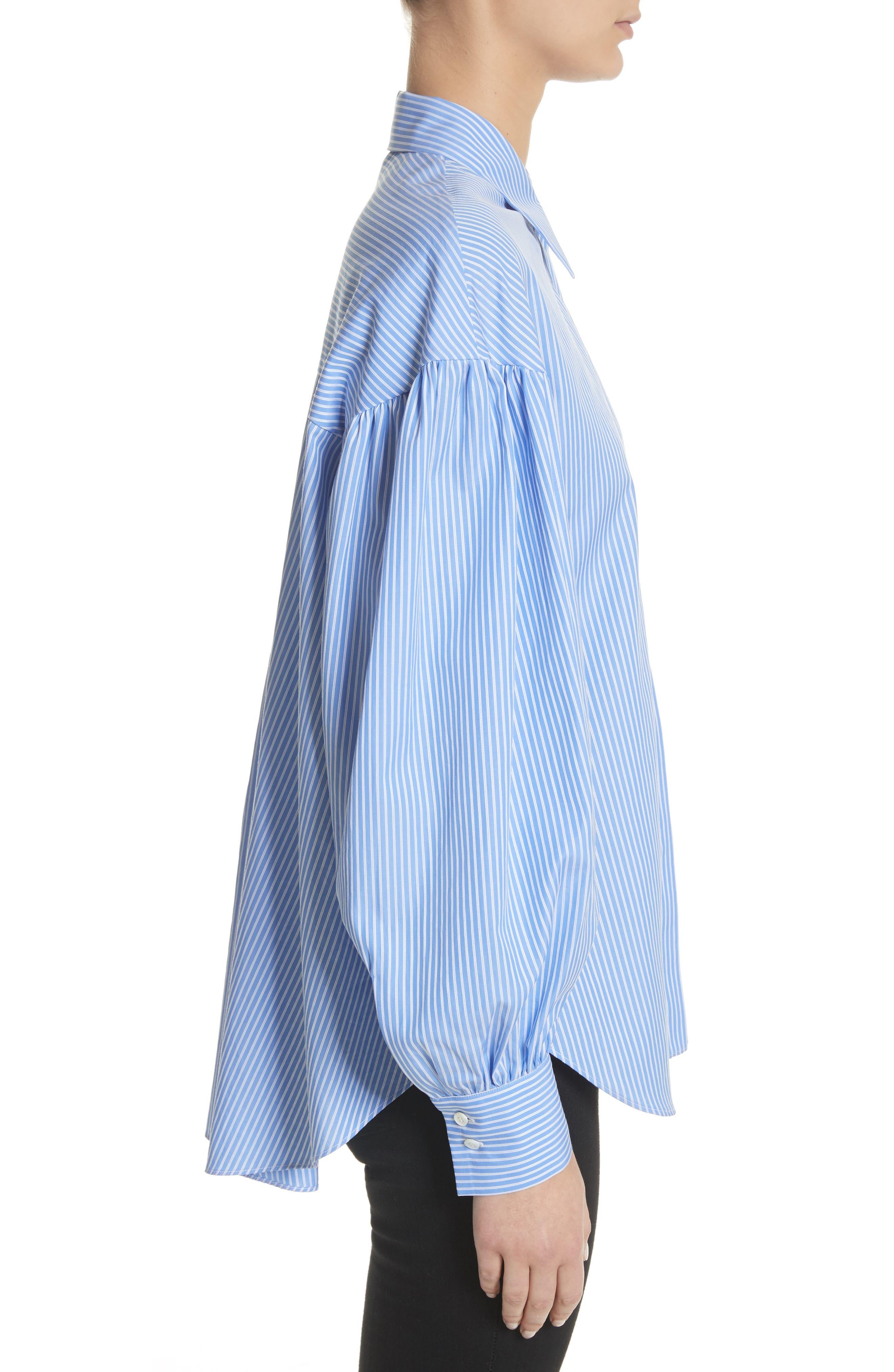 Stripe Puff Sleeve Shirt,                             Alternate thumbnail 3, color,                             Blue Stripe