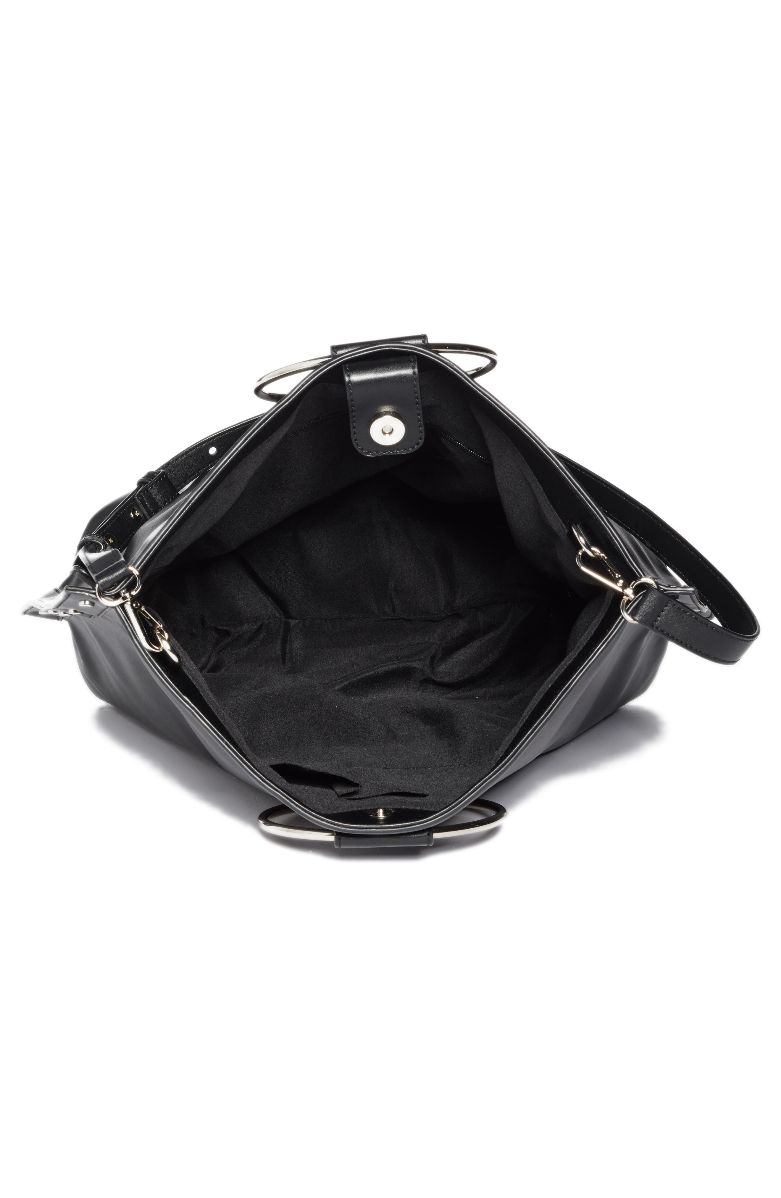 Ring Handle Faux Leather Tote,                             Alternate thumbnail 3, color,                             Black