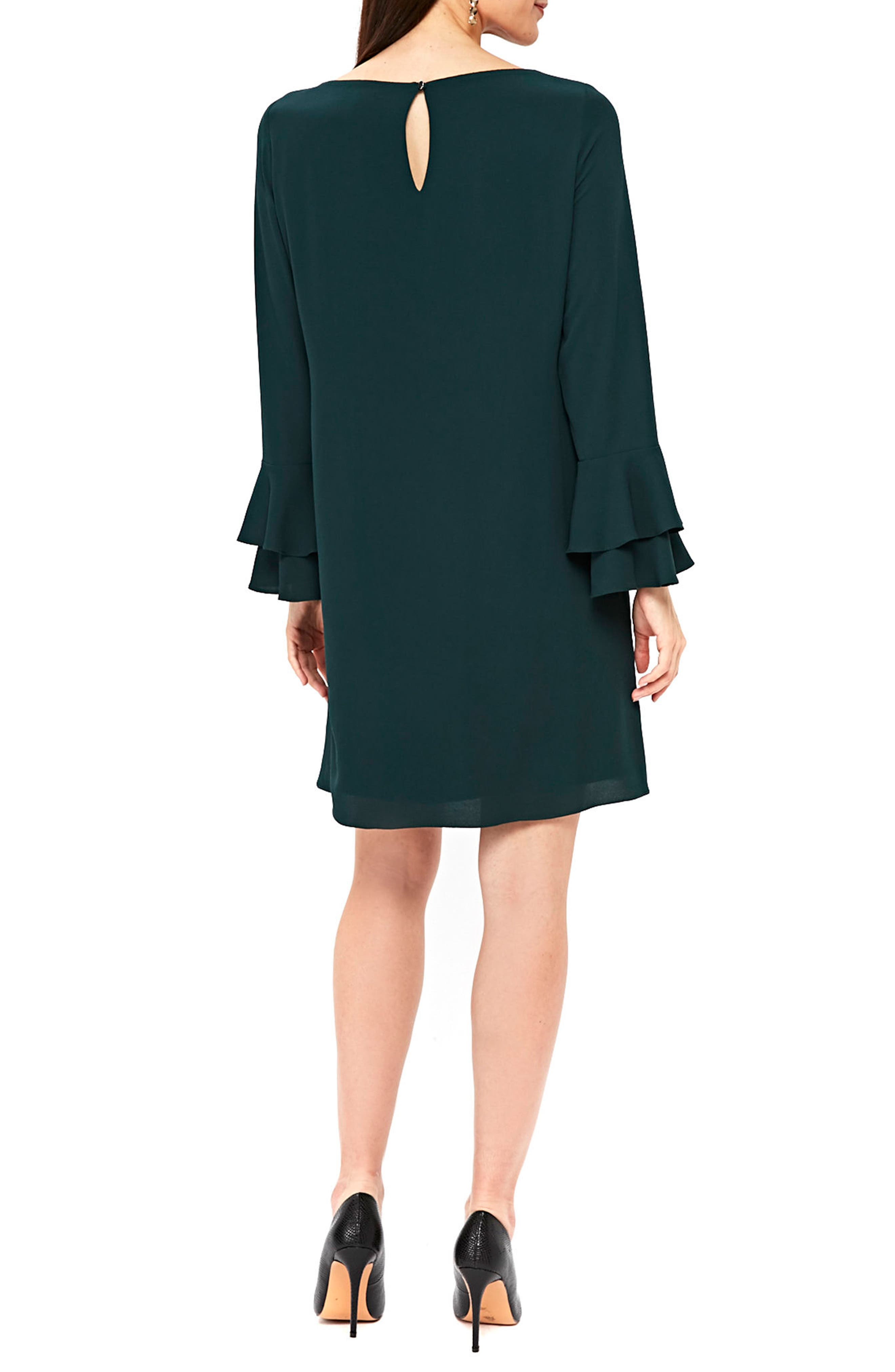 Double Bell Sleeve Shift Dress,                             Alternate thumbnail 2, color,                             Green