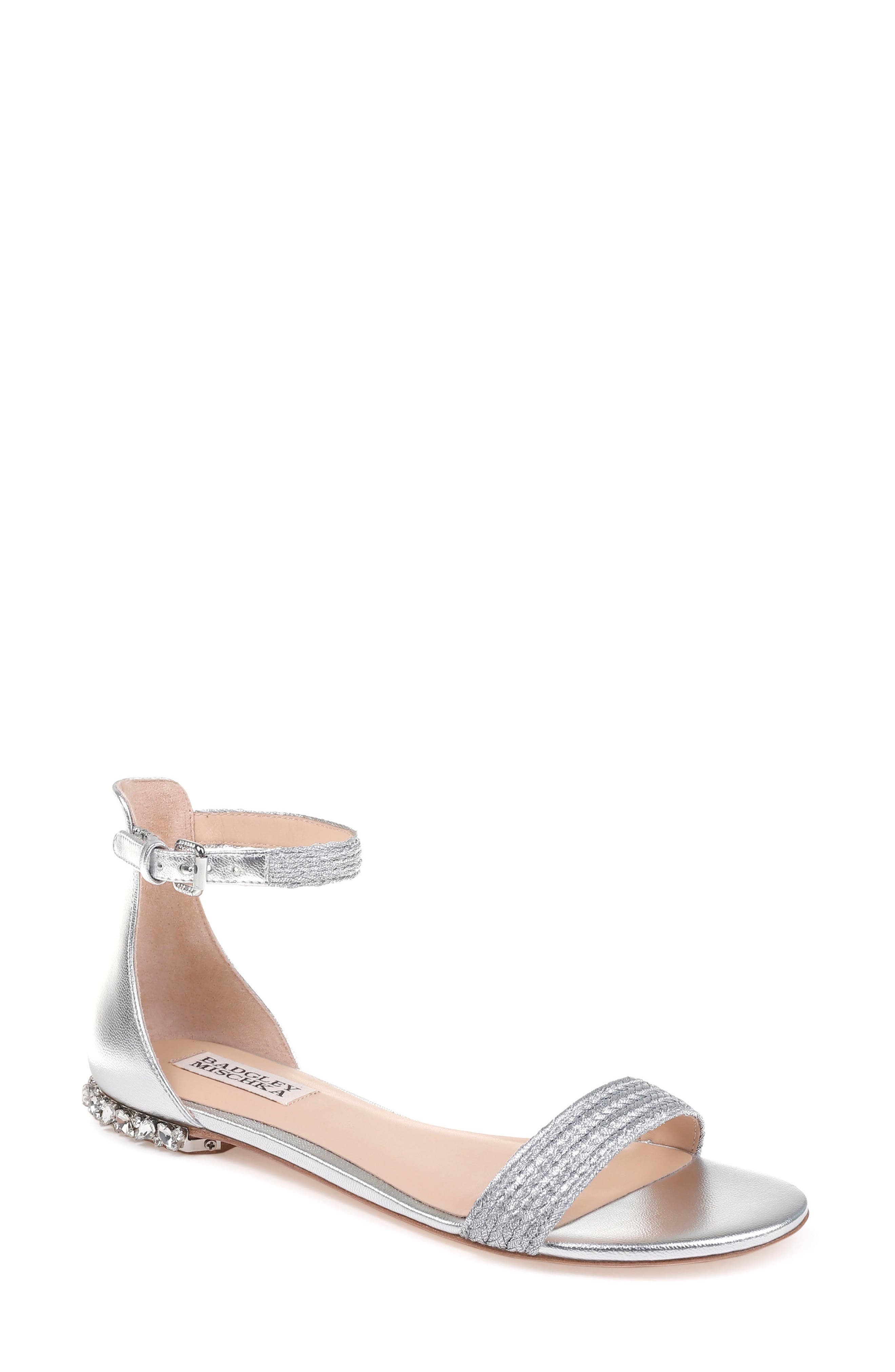 Steffie Ankle Strap Sandal,                         Main,                         color, Silver Leather