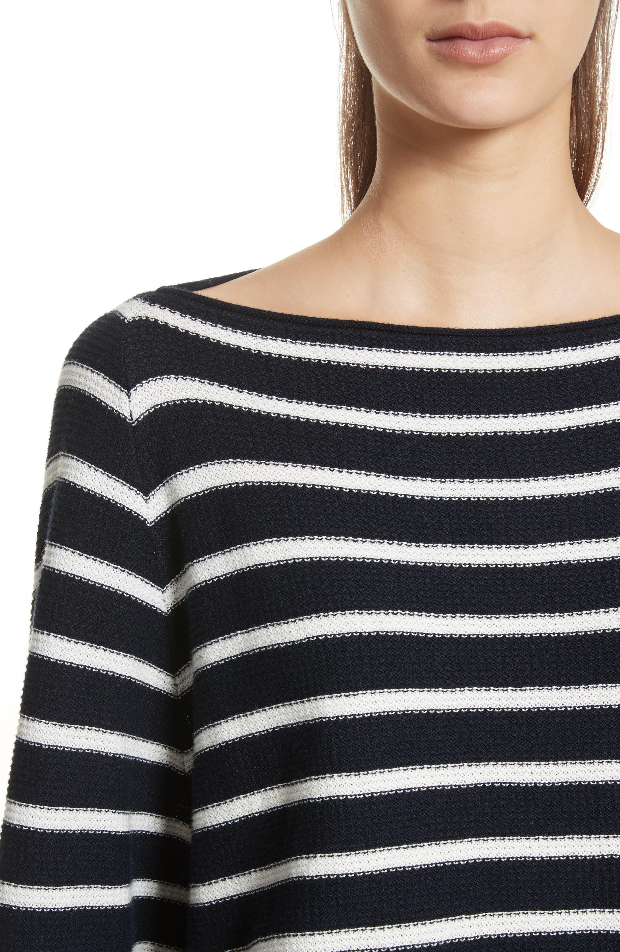 Stripe Waffle Knit Top,                             Alternate thumbnail 4, color,                             Coastal/ Optic White