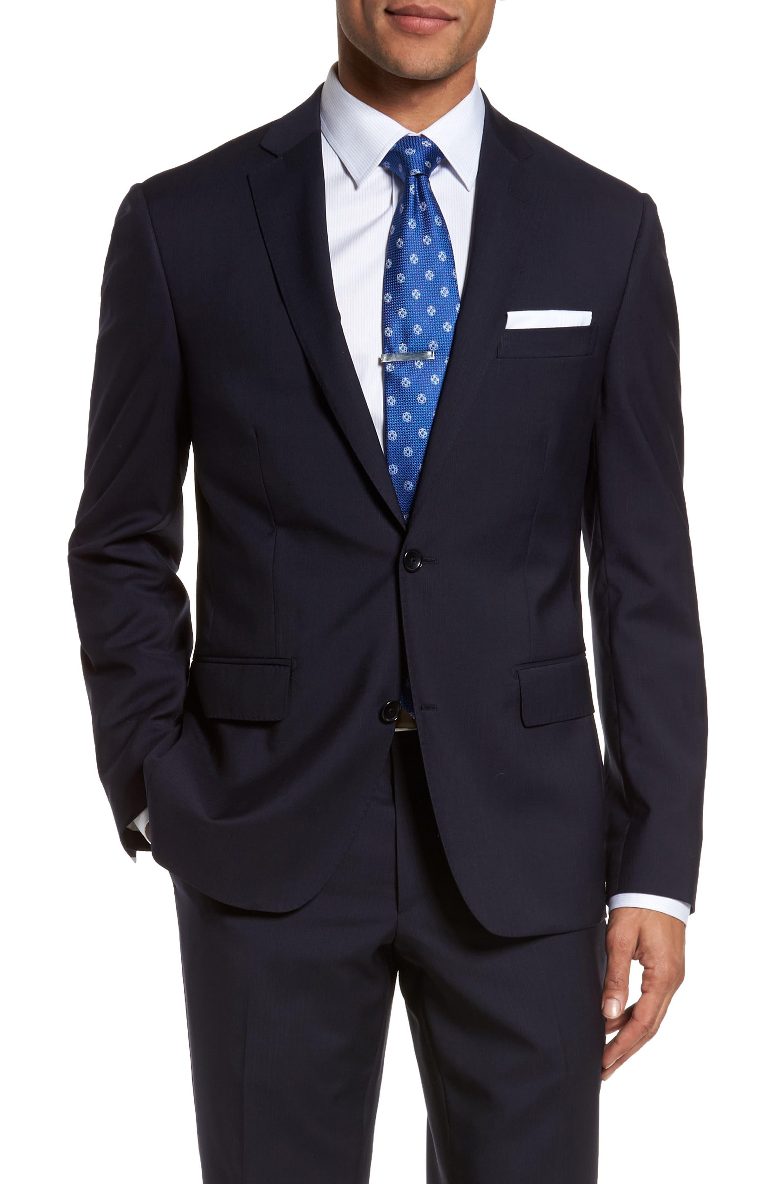 Classic Fit Check Suit,                             Alternate thumbnail 5, color,                             Navy