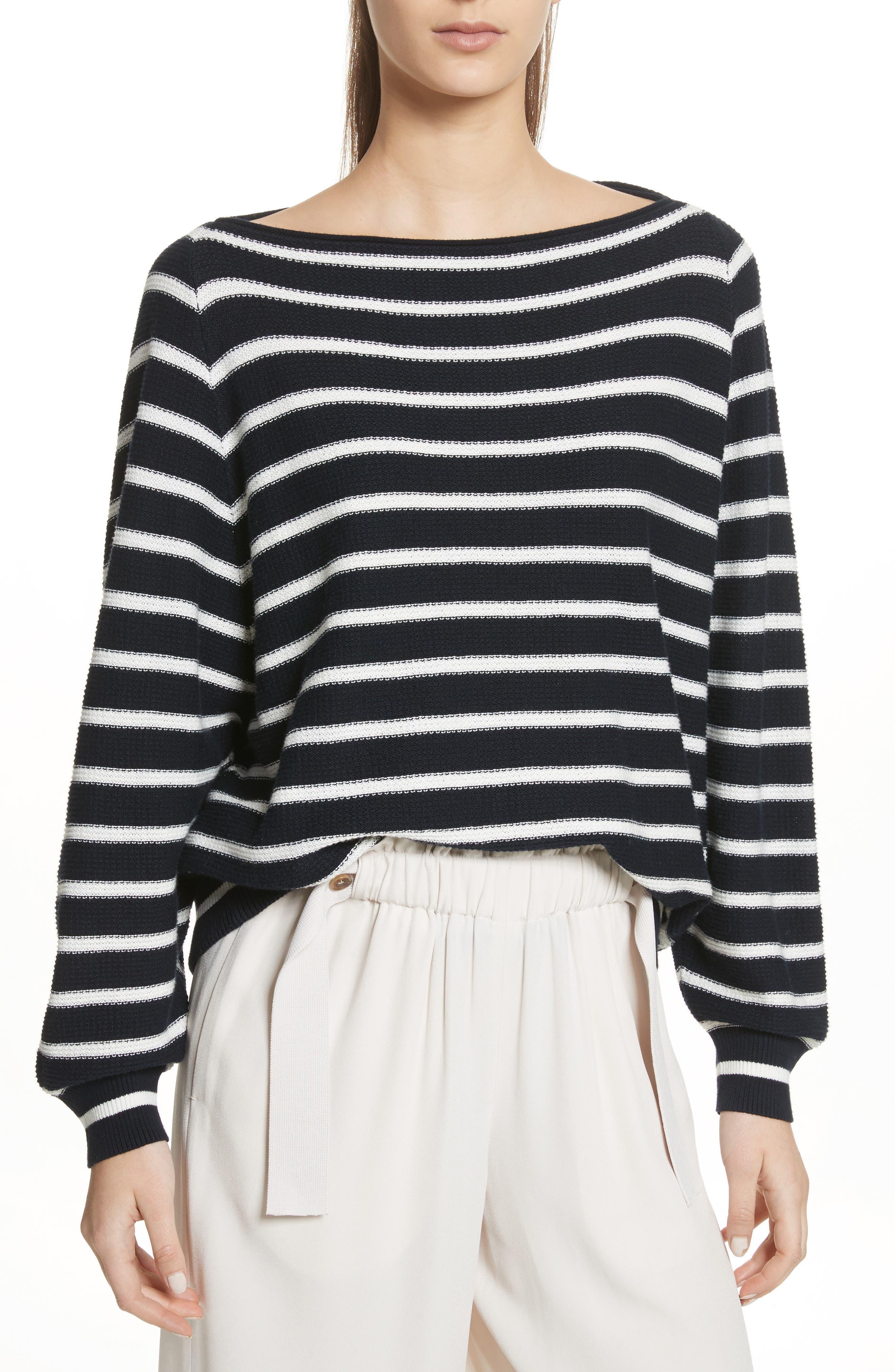Stripe Waffle Knit Top,                             Main thumbnail 1, color,                             Coastal/ Optic White