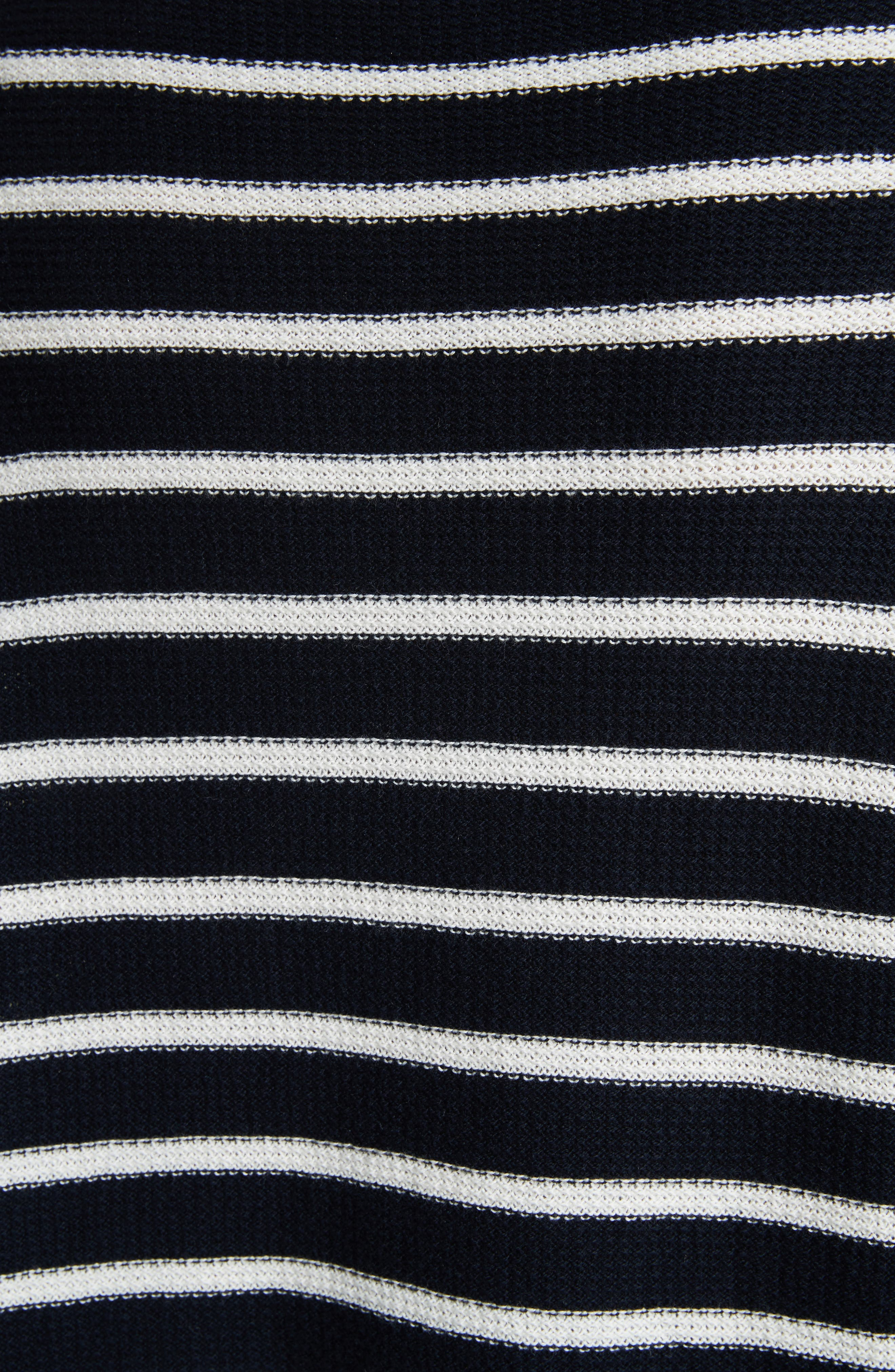 Stripe Waffle Knit Top,                             Alternate thumbnail 5, color,                             Coastal/ Optic White