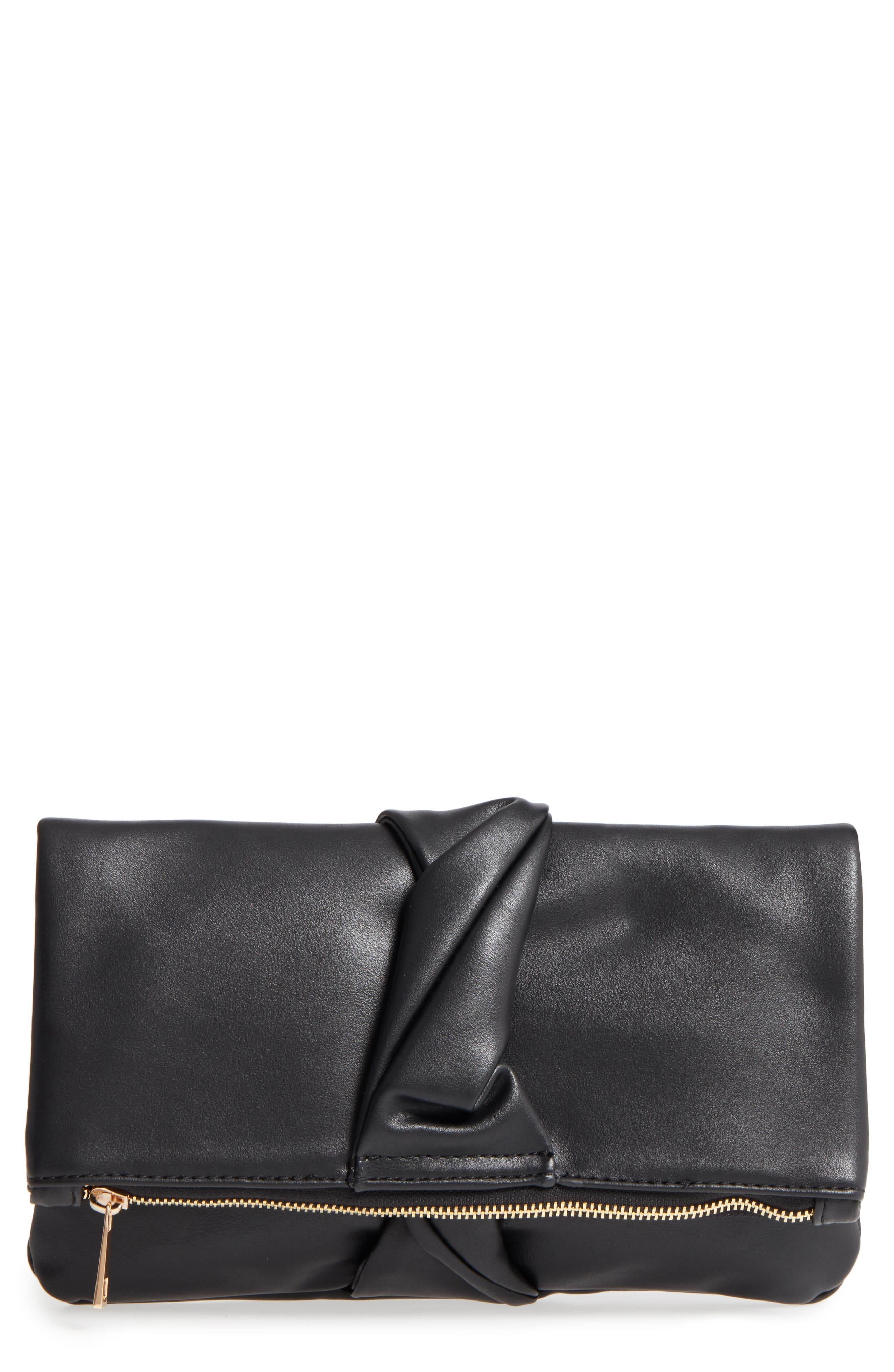Lenore Foldover Faux Leather Clutch,                             Main thumbnail 1, color,                             Black