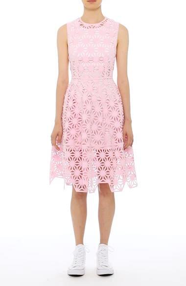Geo Laser Cut Fit & Flare Dress,                         Main,                         color,