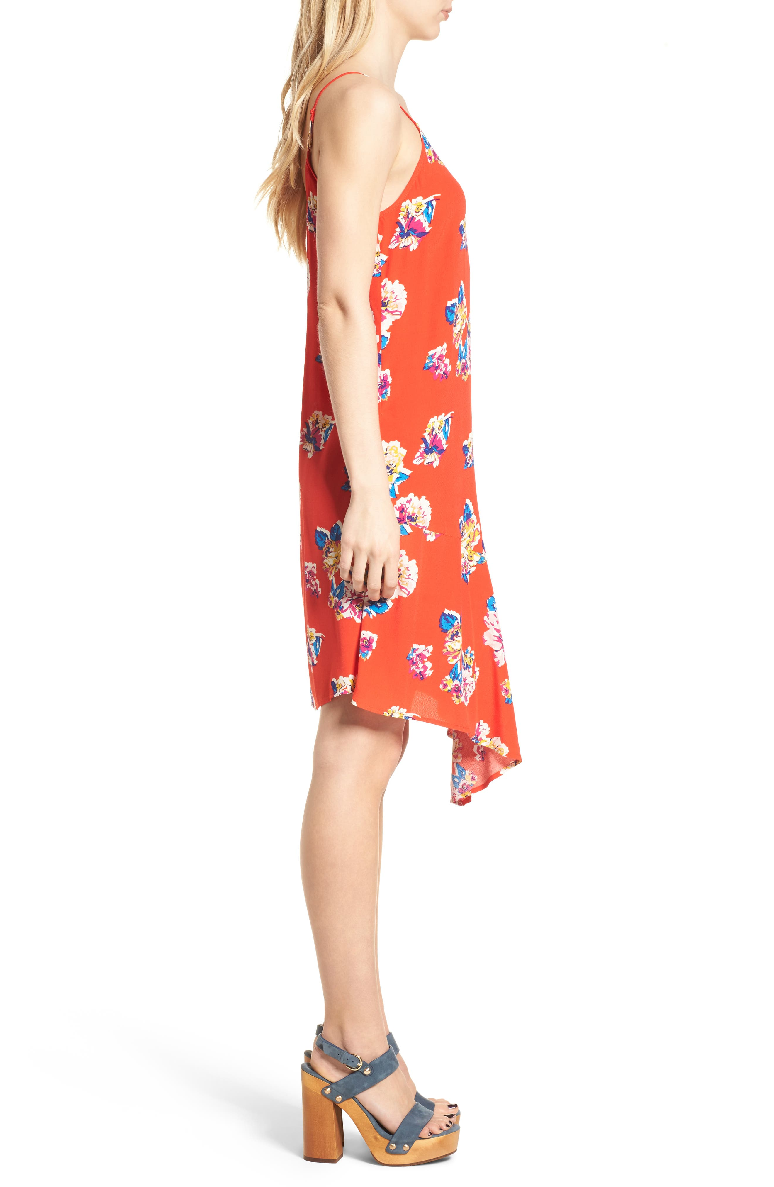 Asymmetrical Floral Print Dress,                             Alternate thumbnail 3, color,                             Red Fiery Bold Bloom