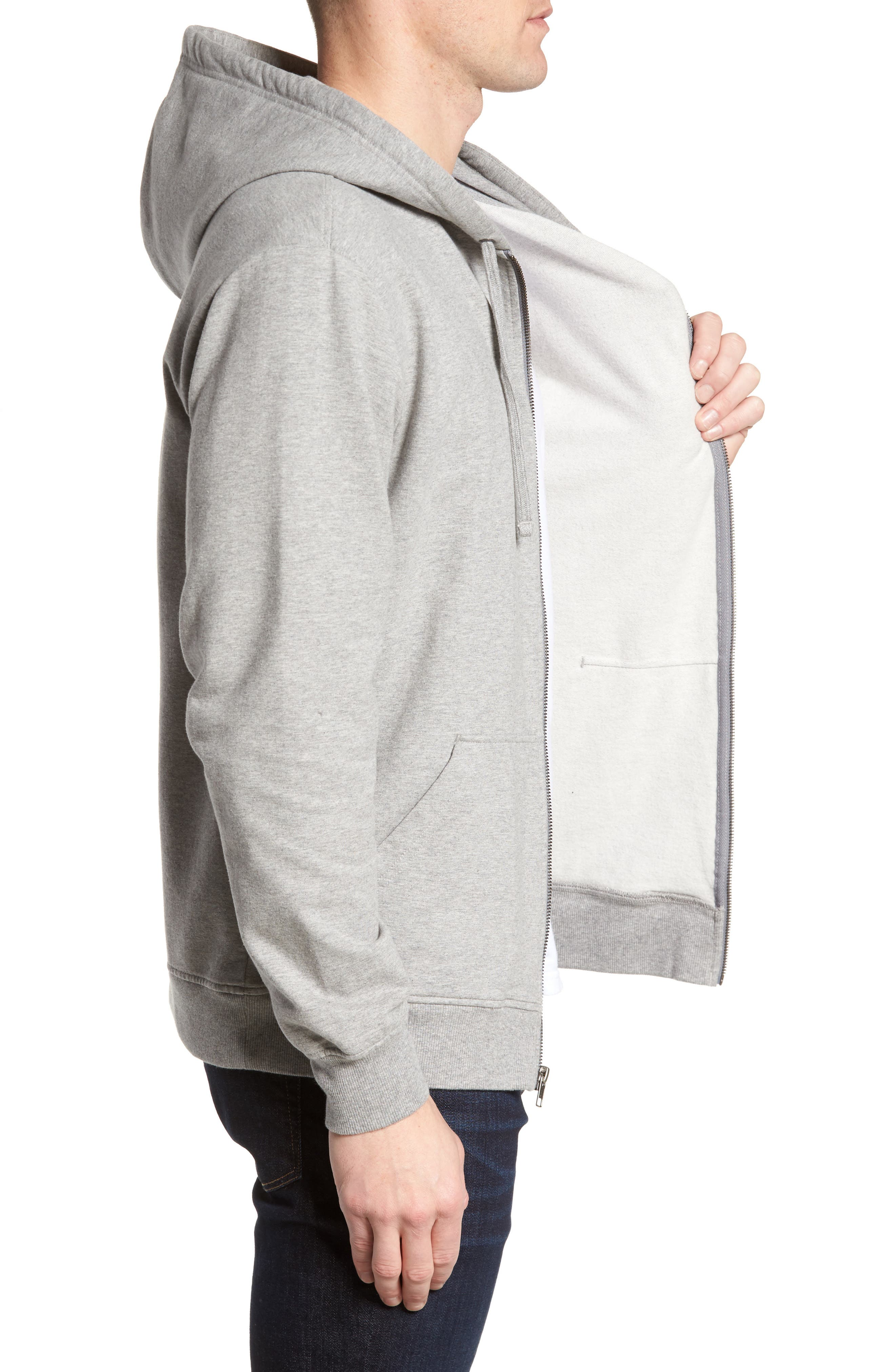 P-6 Logo Modern Fit Zip Hoodie,                             Alternate thumbnail 3, color,                             Feather Grey