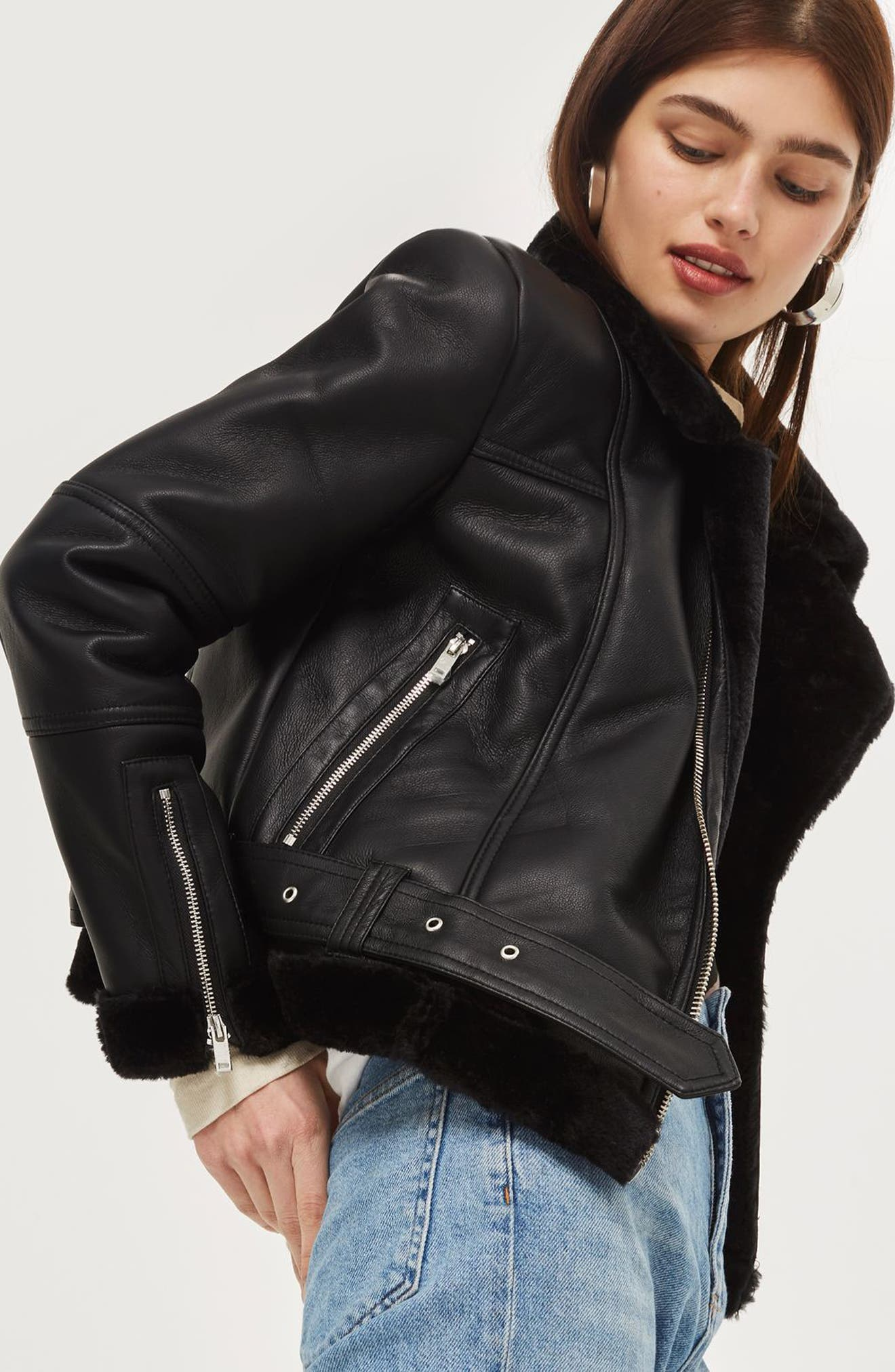 Finsbury Cropped Faux Shearling Biker Jacket,                             Alternate thumbnail 3, color,                             Black