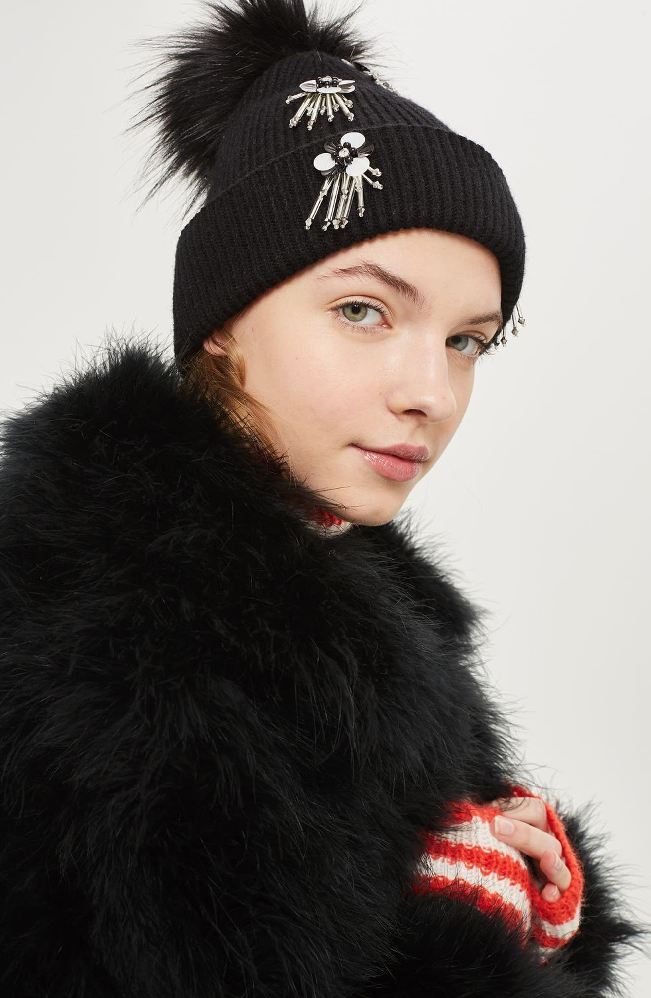 Alternate Image 2  - Topshop Flower Burst Embellished Beanie