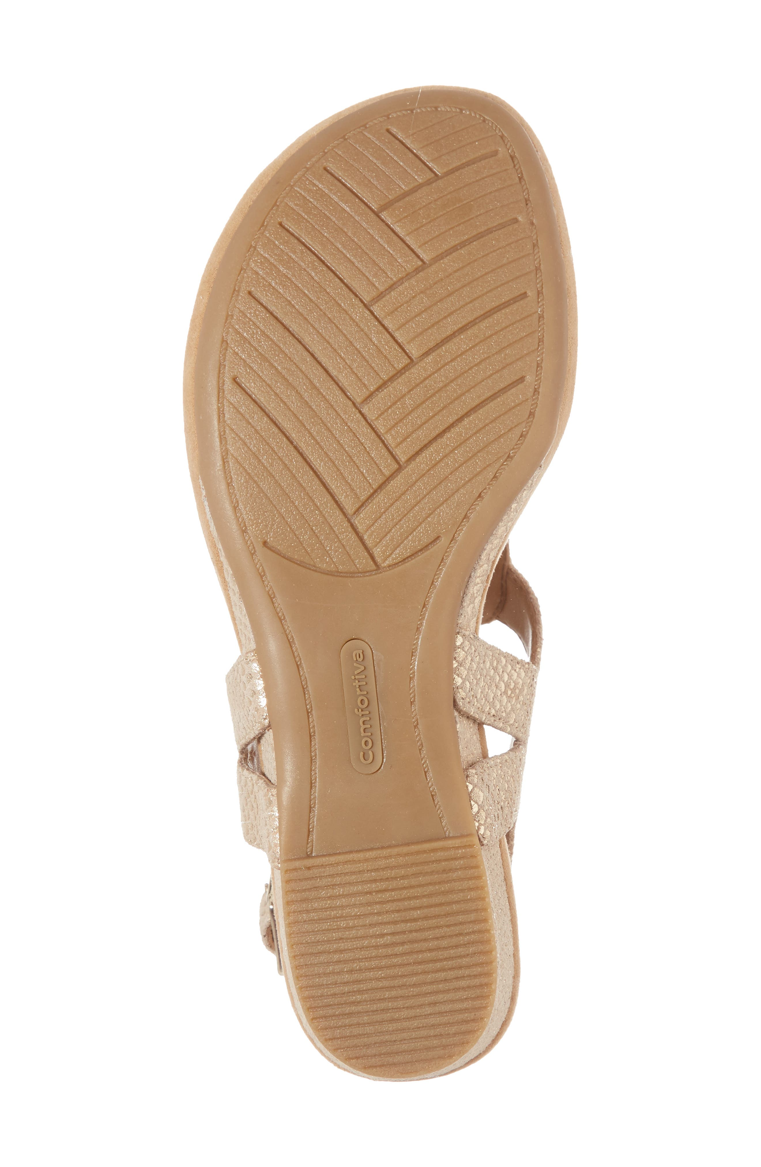 Summit Wedge Sandal,                             Alternate thumbnail 6, color,                             Gold Suede