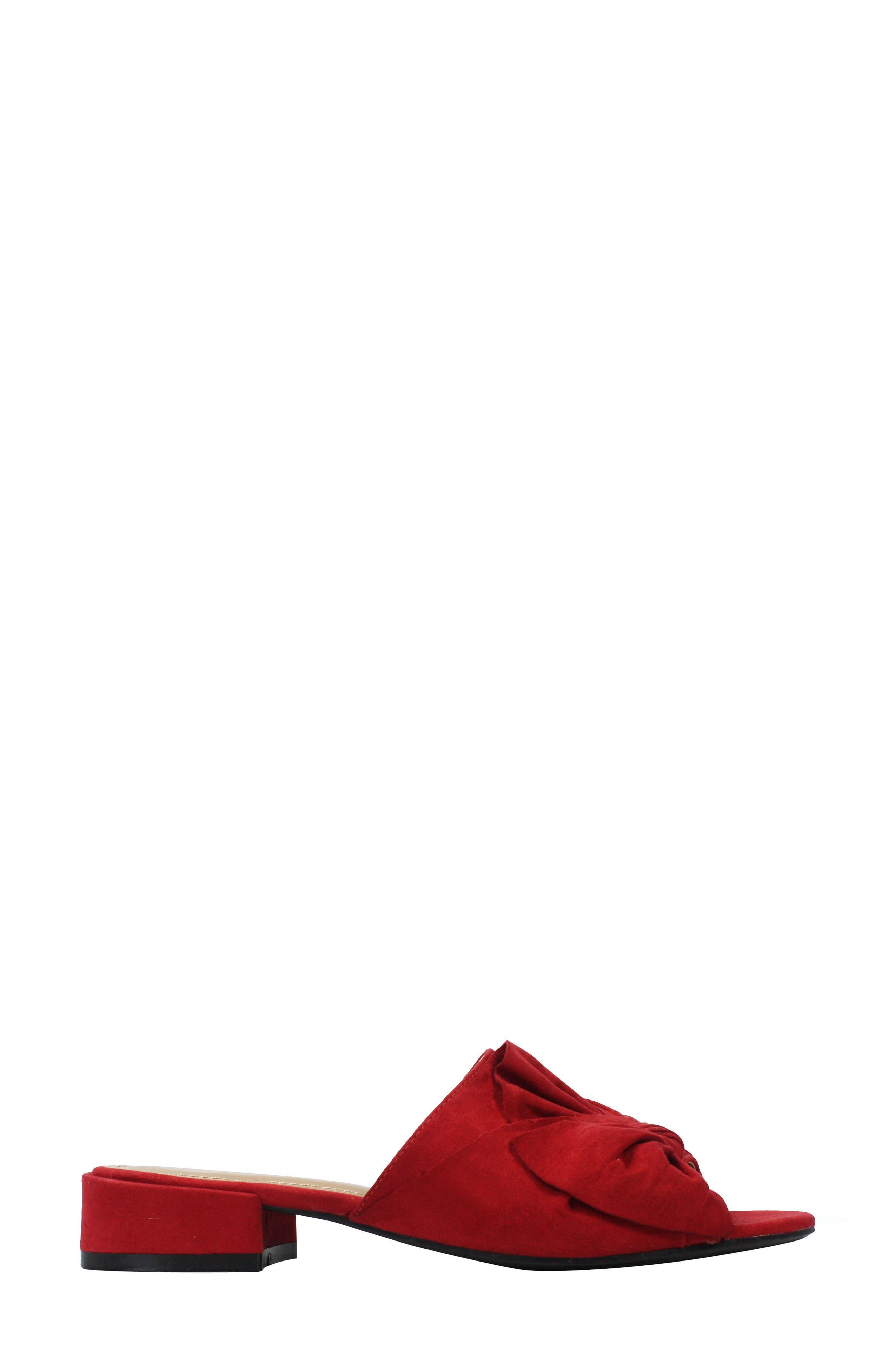 Sattuck Slide Sandal,                             Alternate thumbnail 3, color,                             Red Fabric