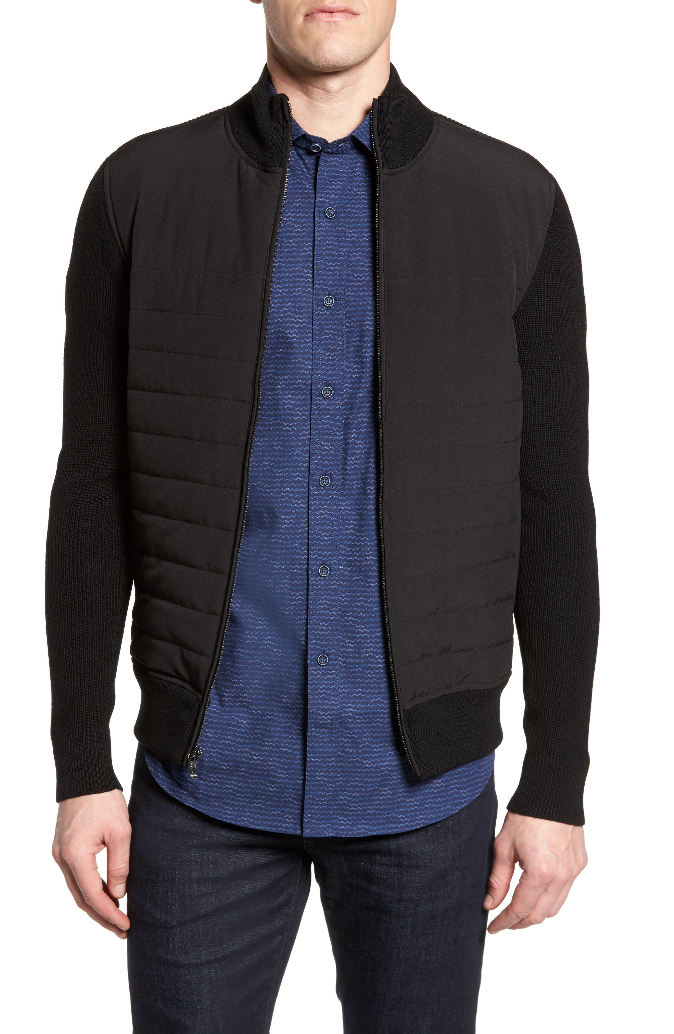 Quilted Front Wool Zip Front Sweater Jacket,                             Main thumbnail 1, color,                             Black