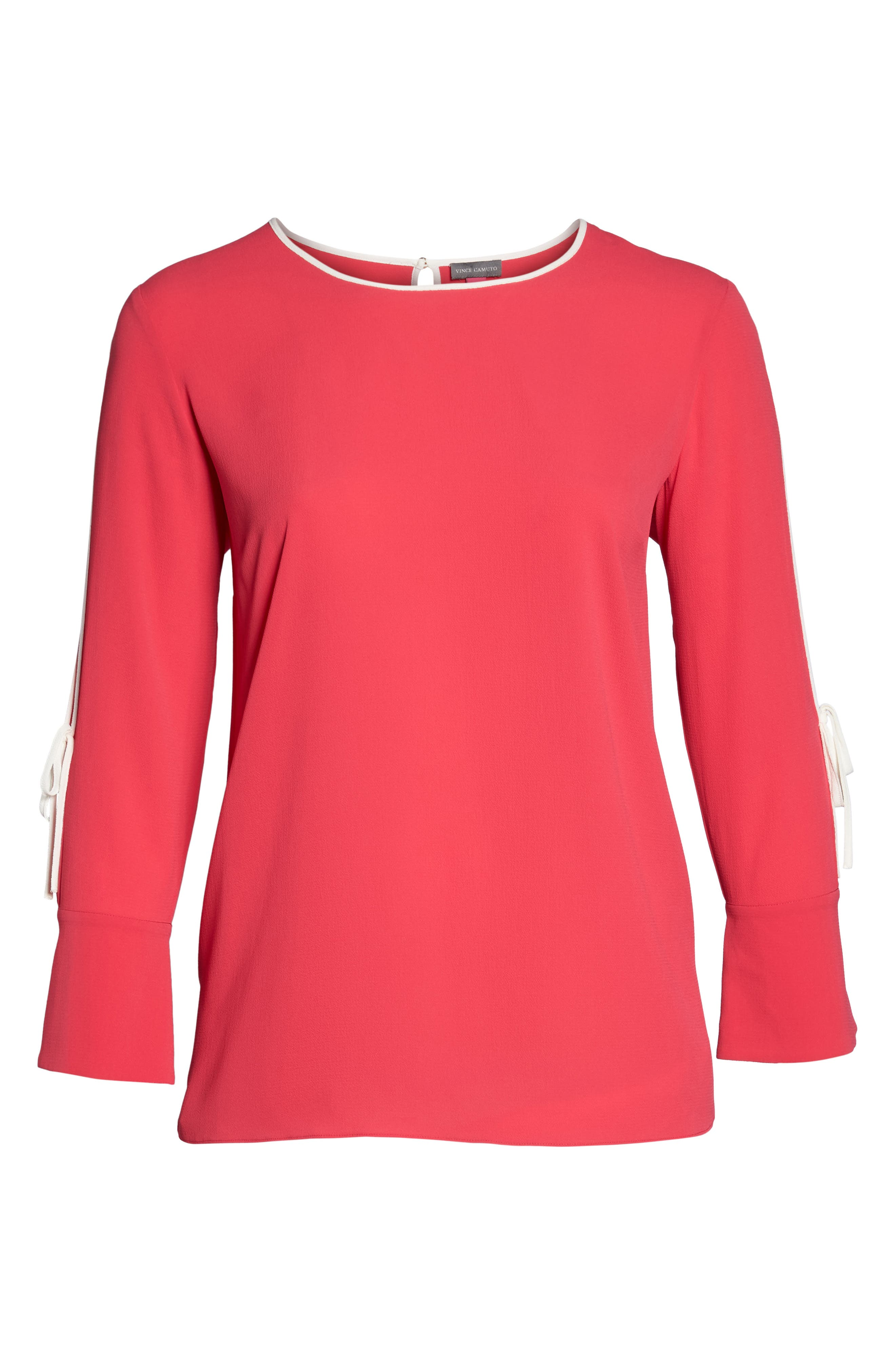 Bell Cuff Split Sleeve Shirt,                             Alternate thumbnail 6, color,                             Vibrant Pink
