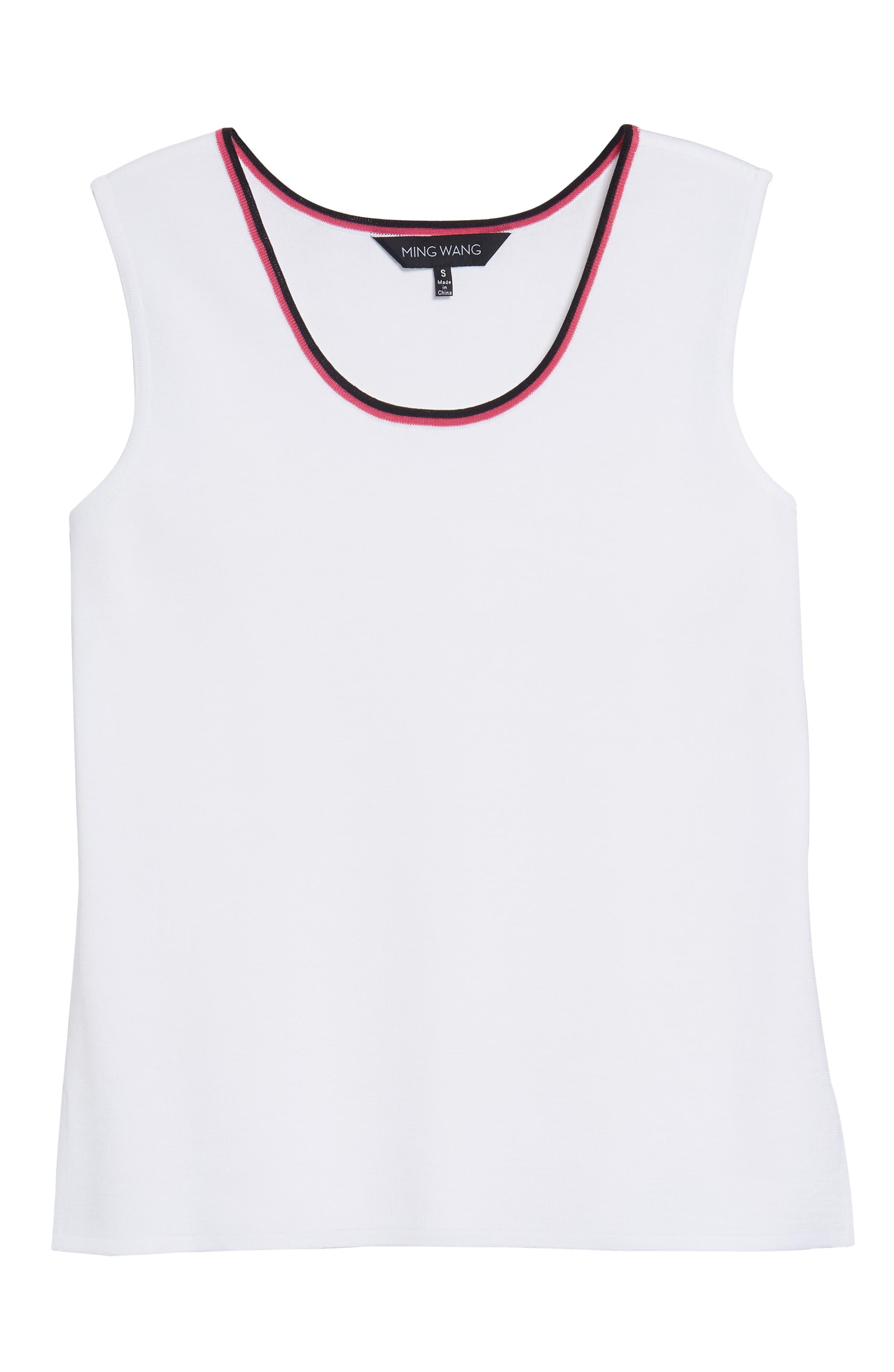 Scoop Neck Knit Tank,                             Alternate thumbnail 6, color,                             White/ Black/ Dahlia