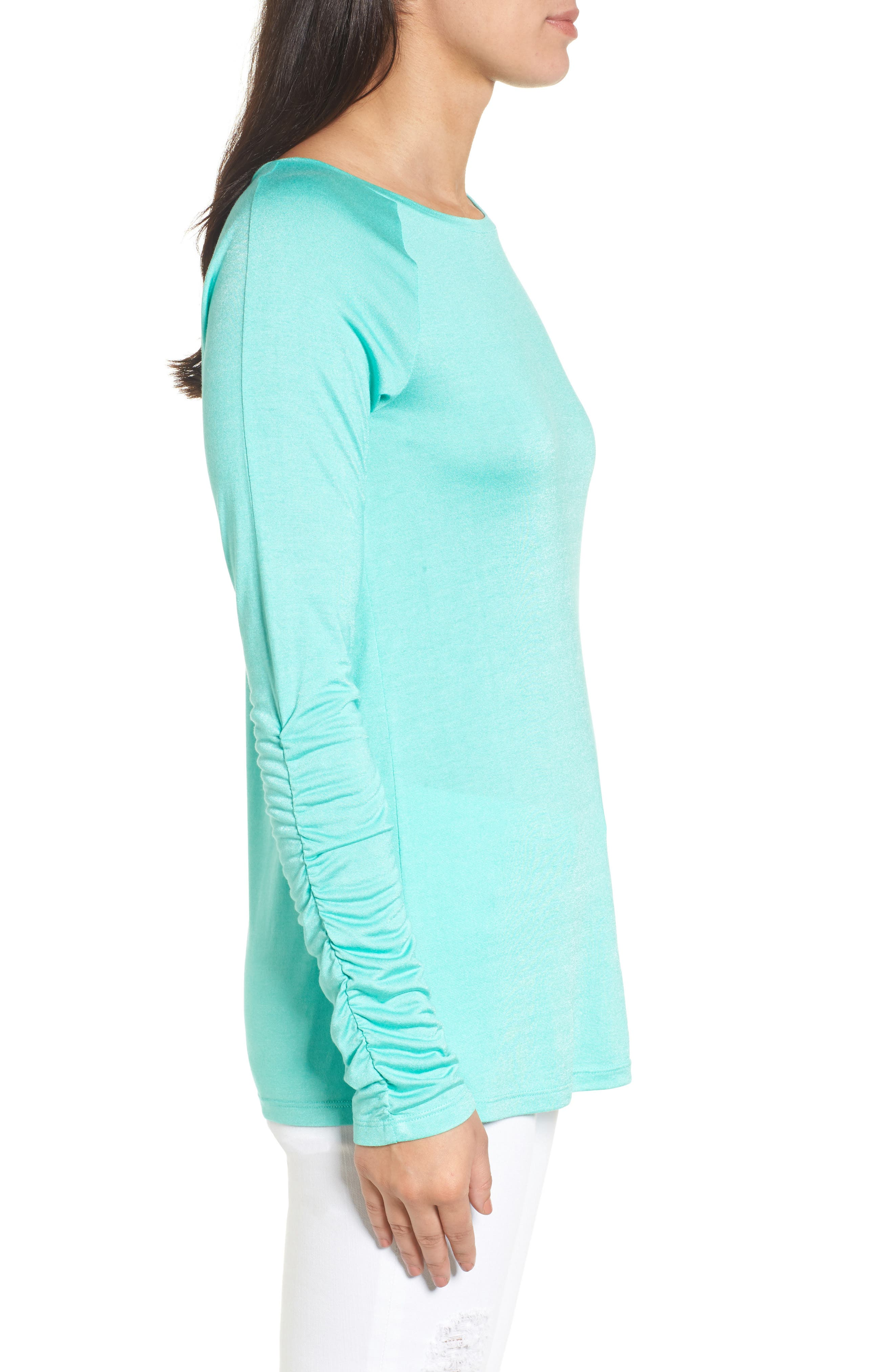 Ruched Sleeve Tee,                             Alternate thumbnail 3, color,                             Green Largo