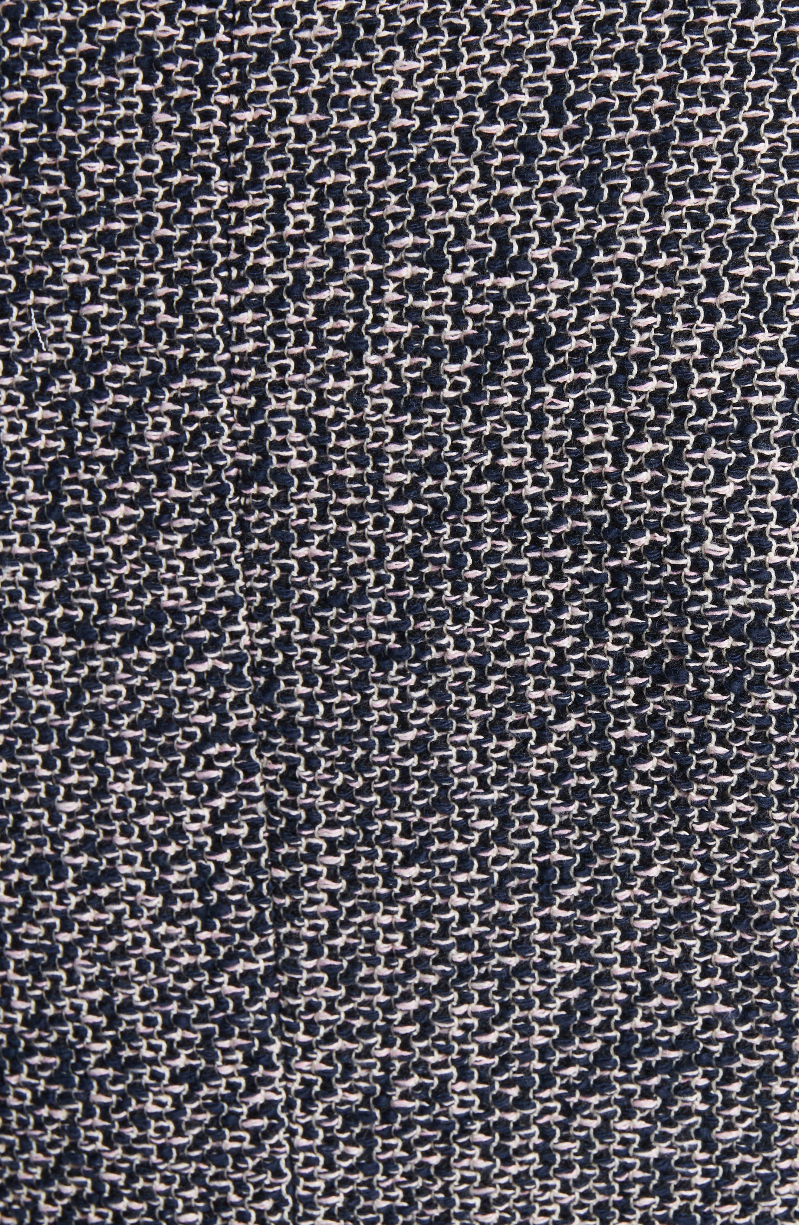 Notch Collar Tweed Jacket,                             Alternate thumbnail 5, color,                             Navy/ Pink