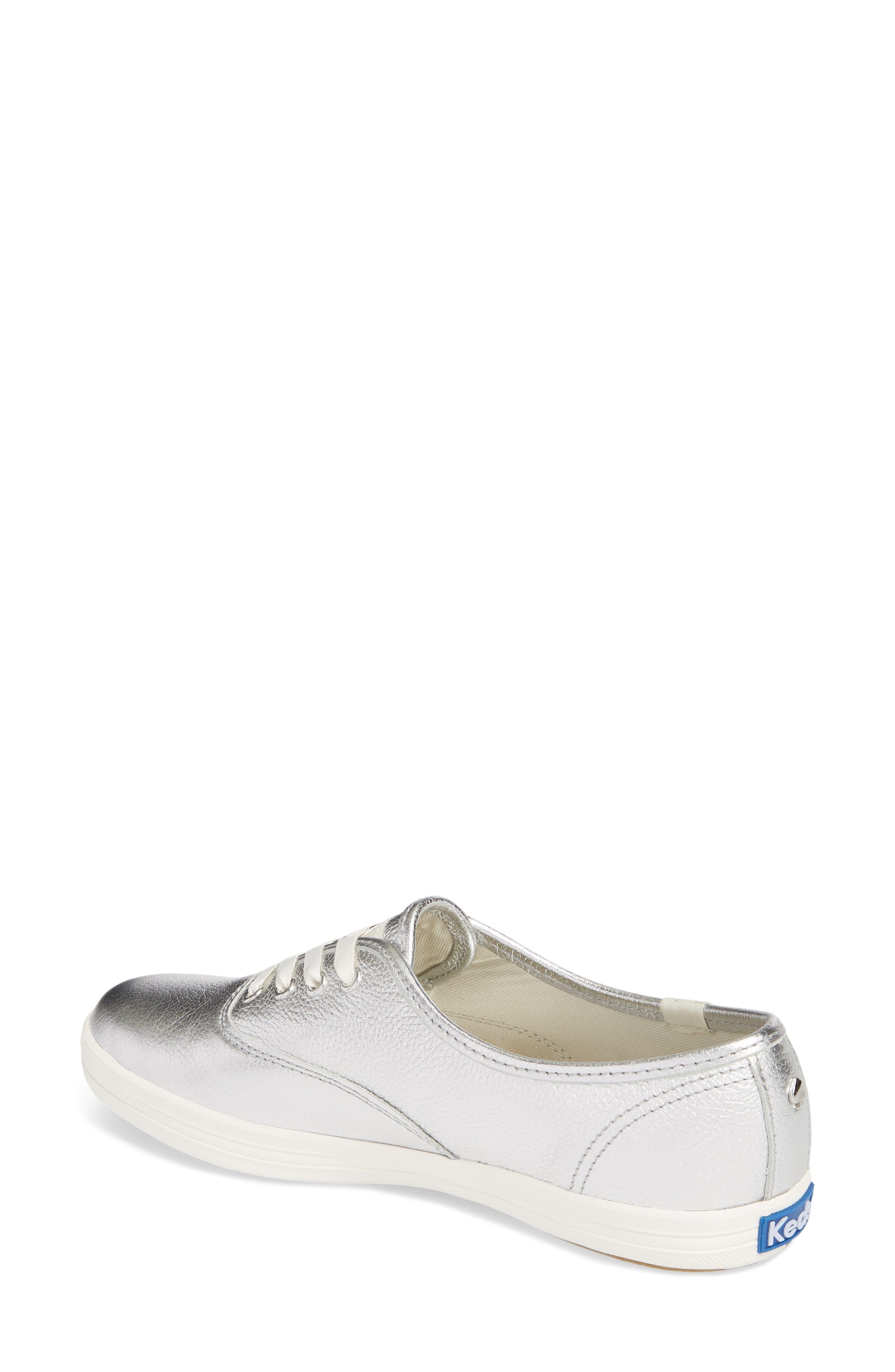 metallic sneaker,                             Alternate thumbnail 2, color,                             Silver Leather