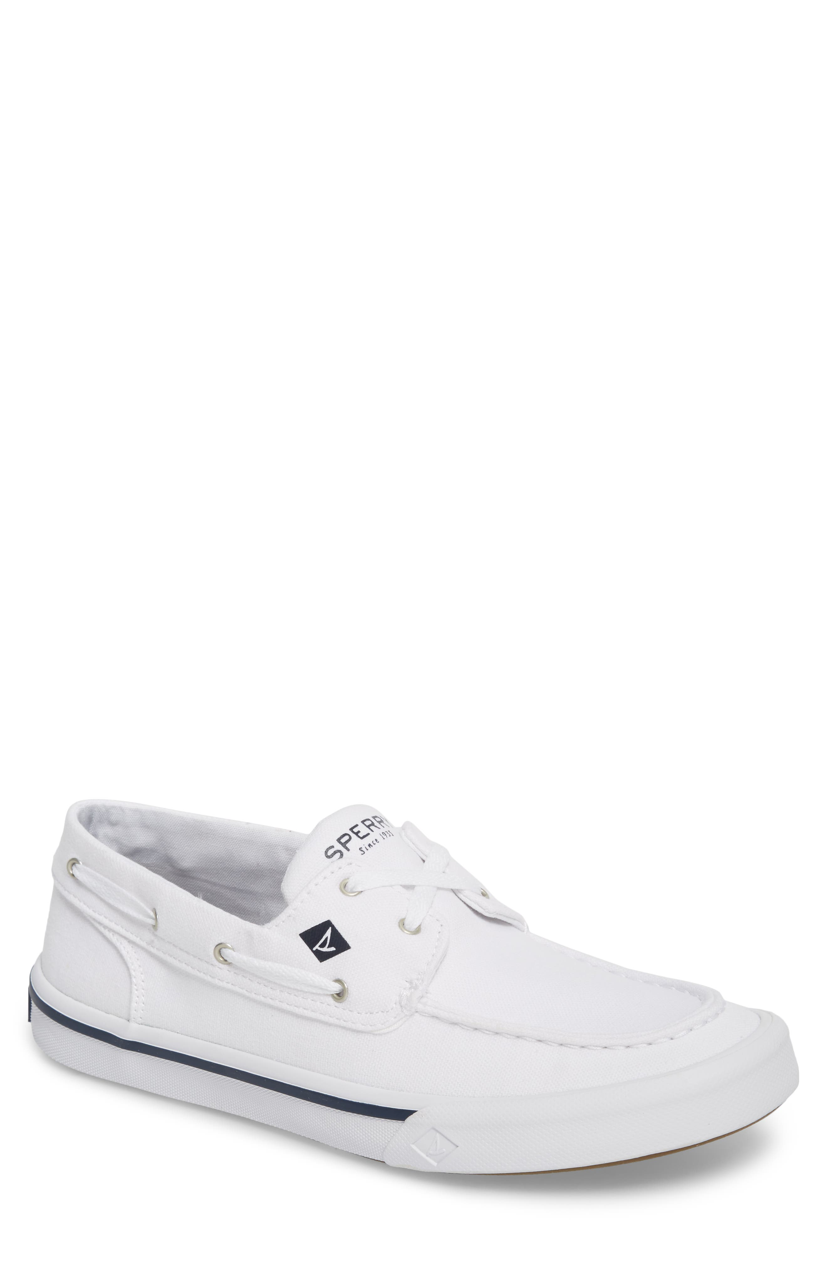 Striper 2 Boat Shoe,                         Main,                         color, White Canvas