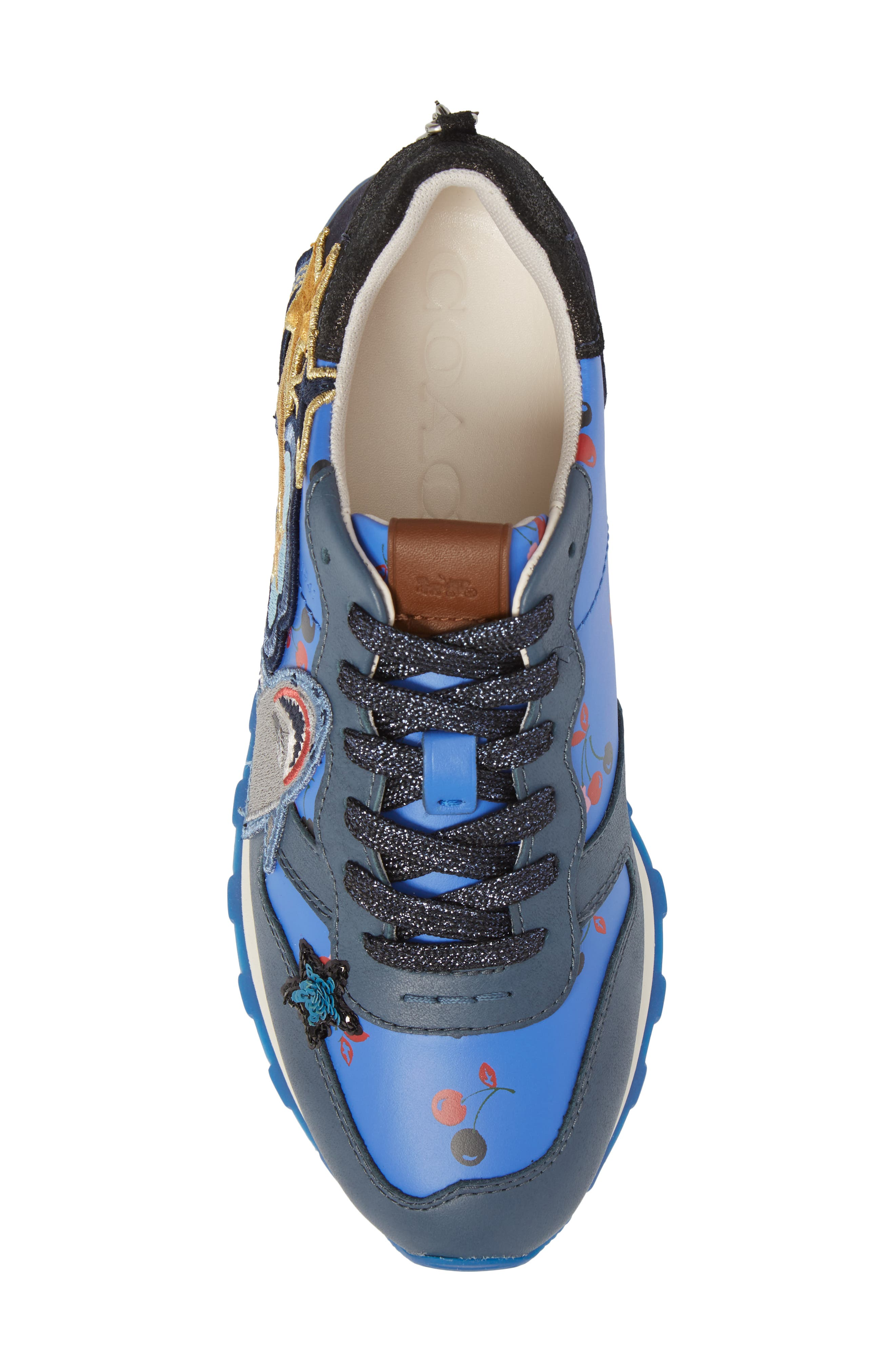 Patch Sneaker,                             Alternate thumbnail 5, color,                             Blue/ Grey Leather