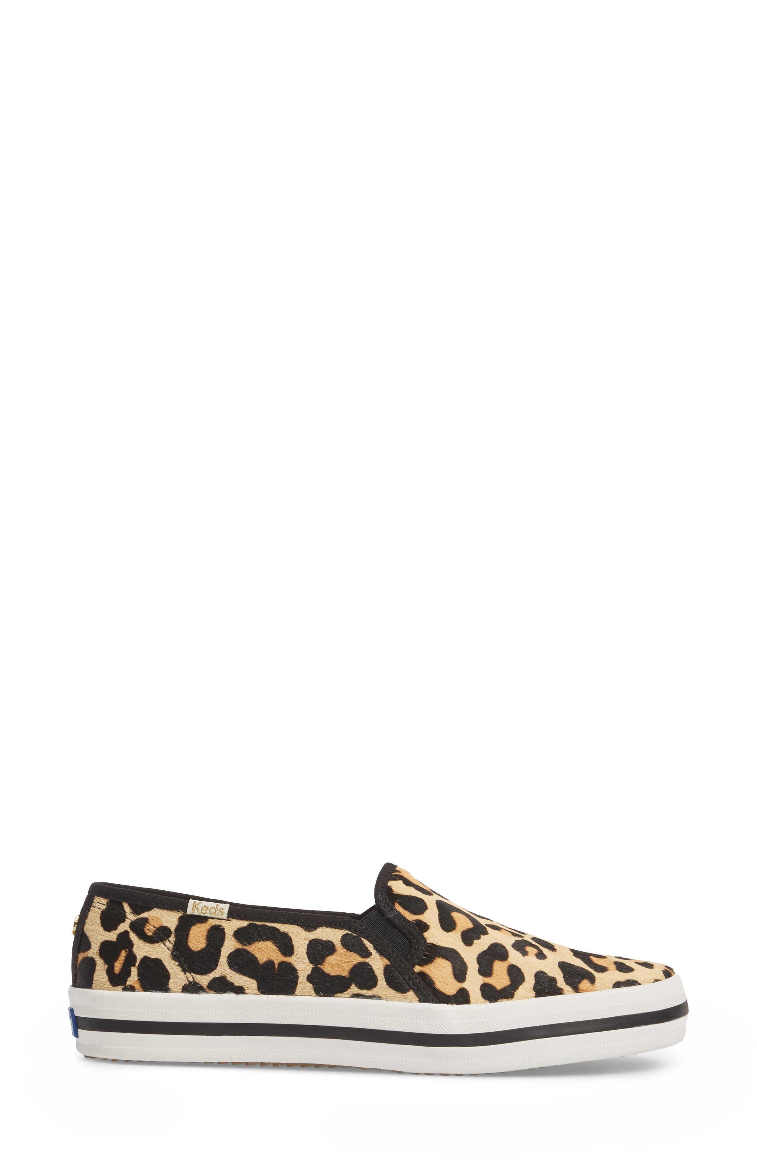 Keds<sup>®</sup> x kate spade Double Decker Slip-On Sneaker,                             Alternate thumbnail 3, color,                             Tan Pony Hair