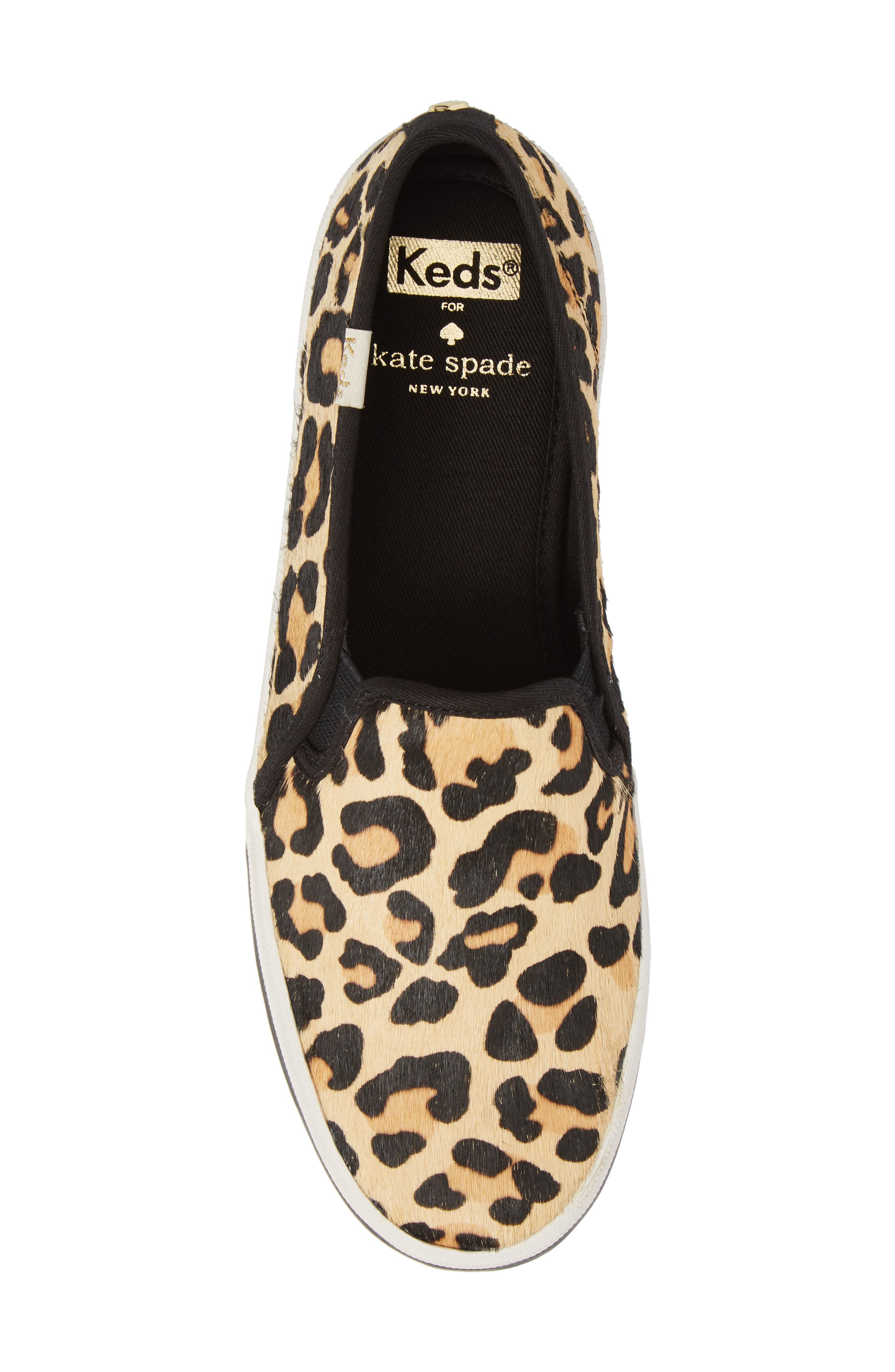 Keds<sup>®</sup> x kate spade Double Decker Slip-On Sneaker,                             Alternate thumbnail 5, color,                             Tan Pony Hair