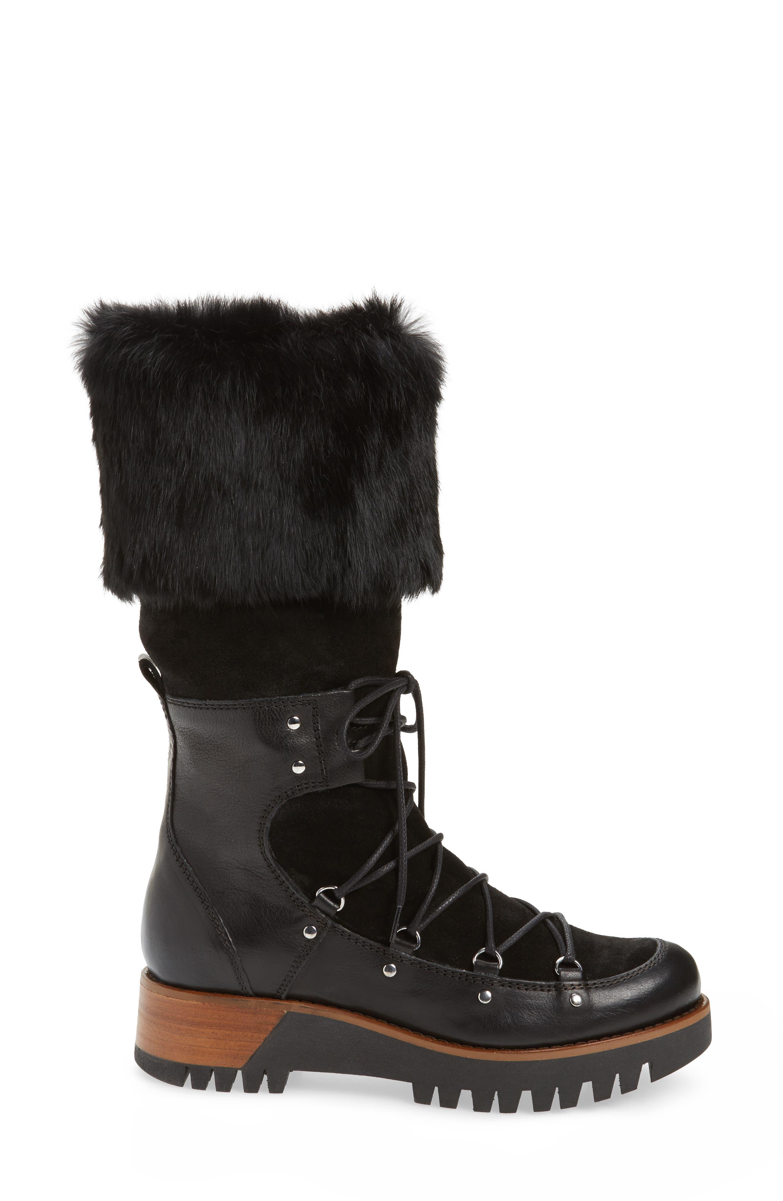Tellurian Genuine Rabbit Fur Cuff Boot,                             Alternate thumbnail 3, color,                             Black Leather