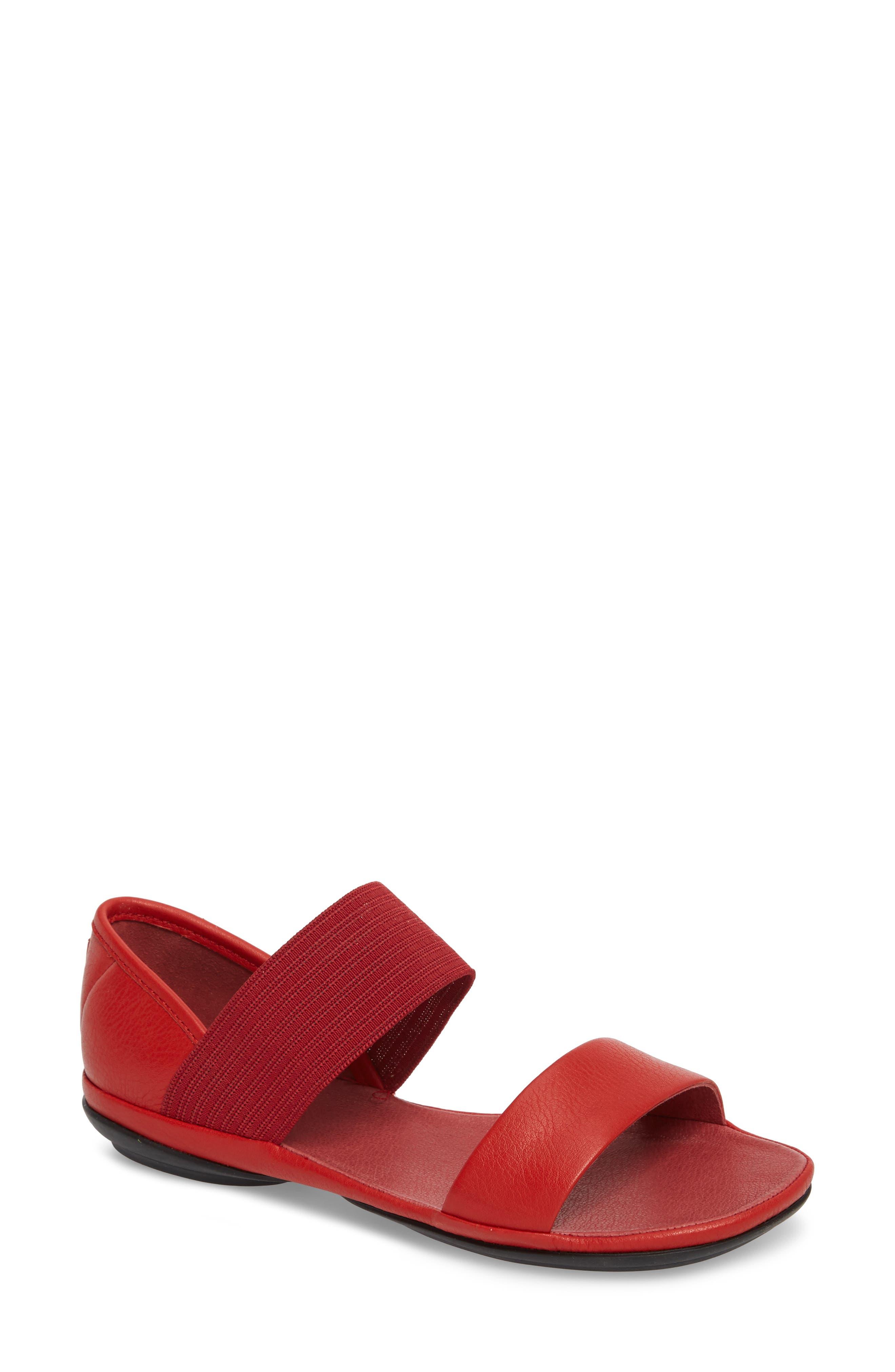 Right Nina Sandal,                         Main,                         color, Medium Red Leather