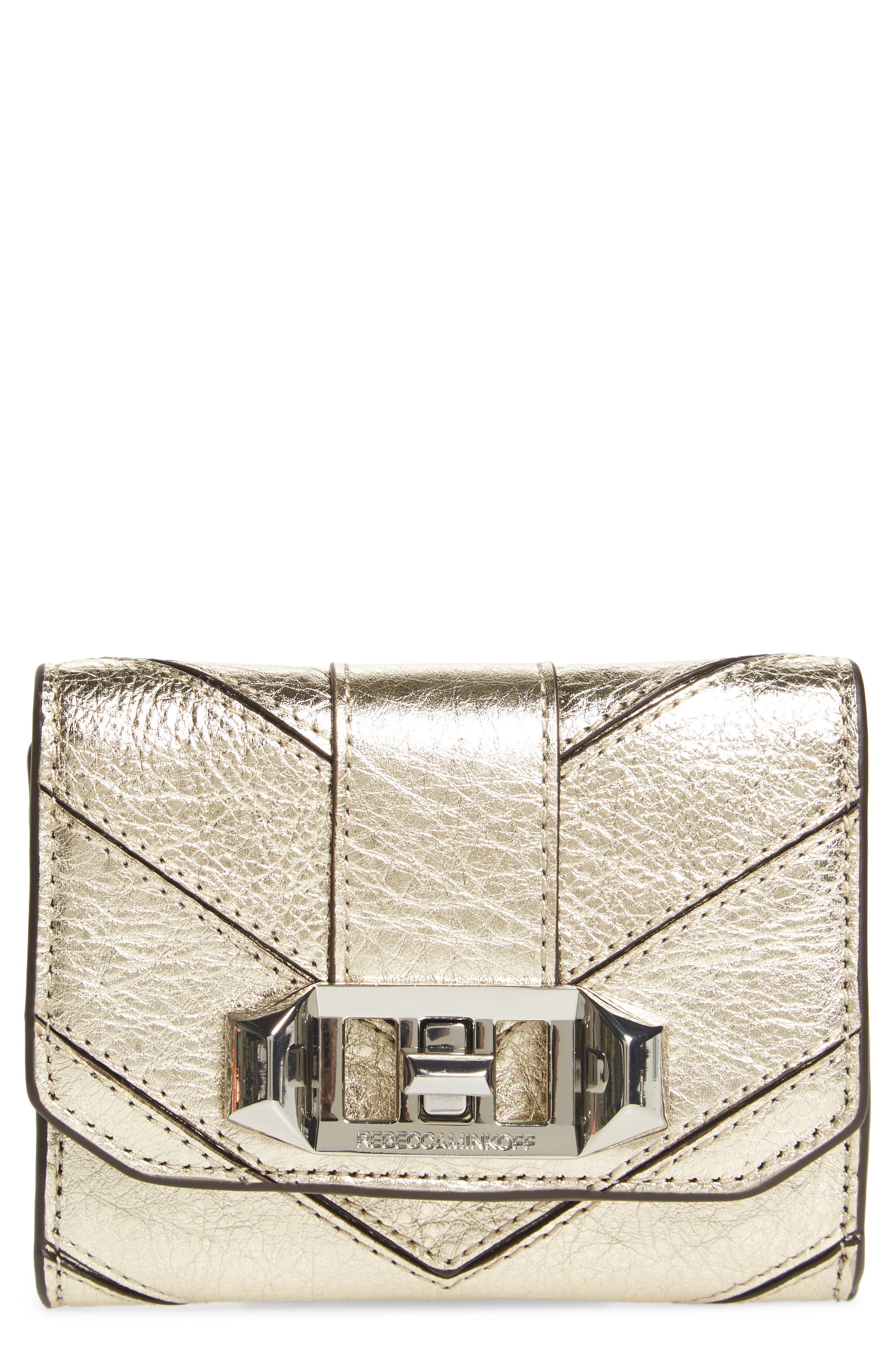 Love Lock Metallic Leather Wallet,                         Main,                         color, Light Gold