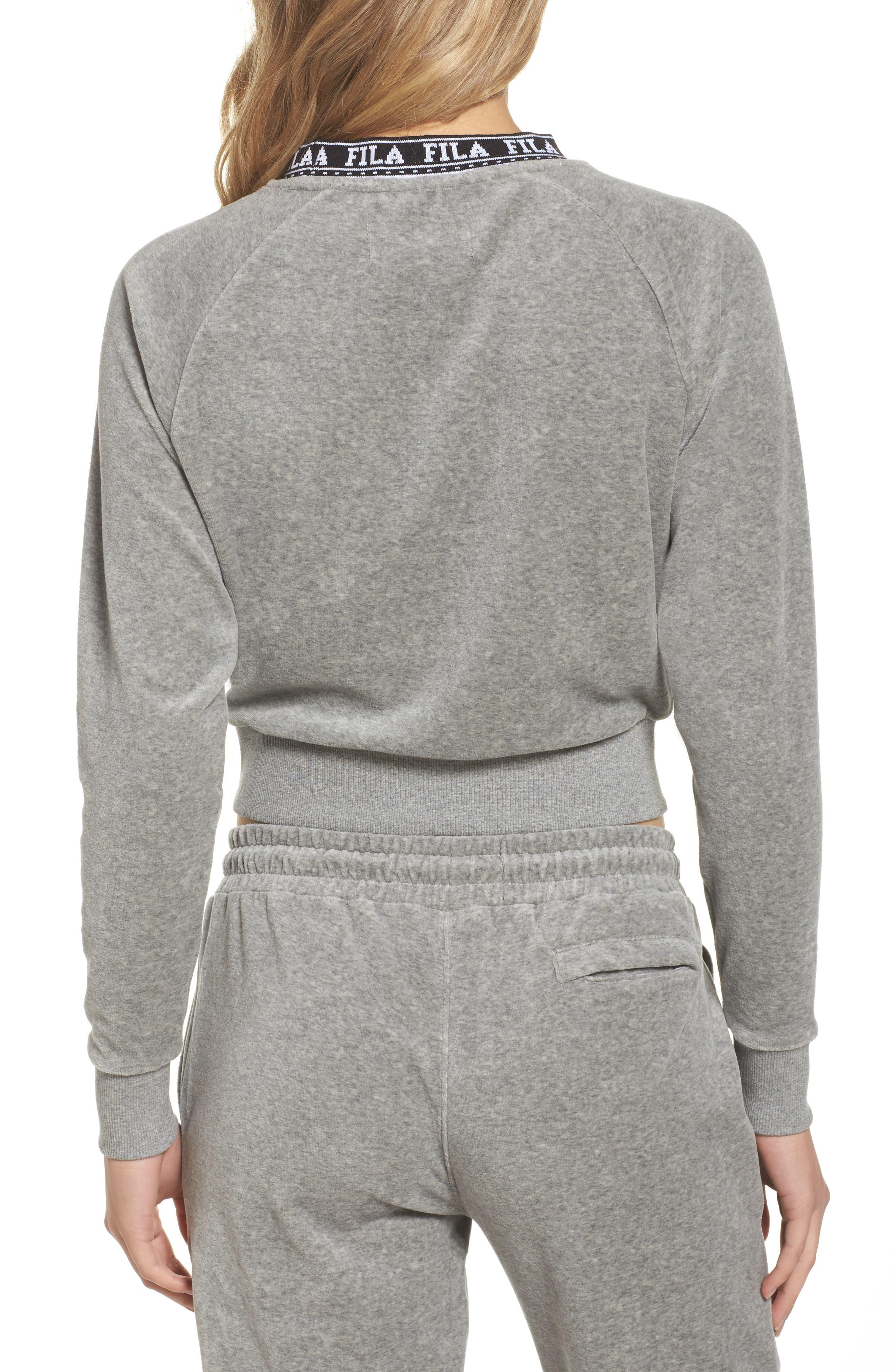 Dina Velour Crop Sweatshirt,                             Alternate thumbnail 2, color,                             Grey Heather/ Black/ White