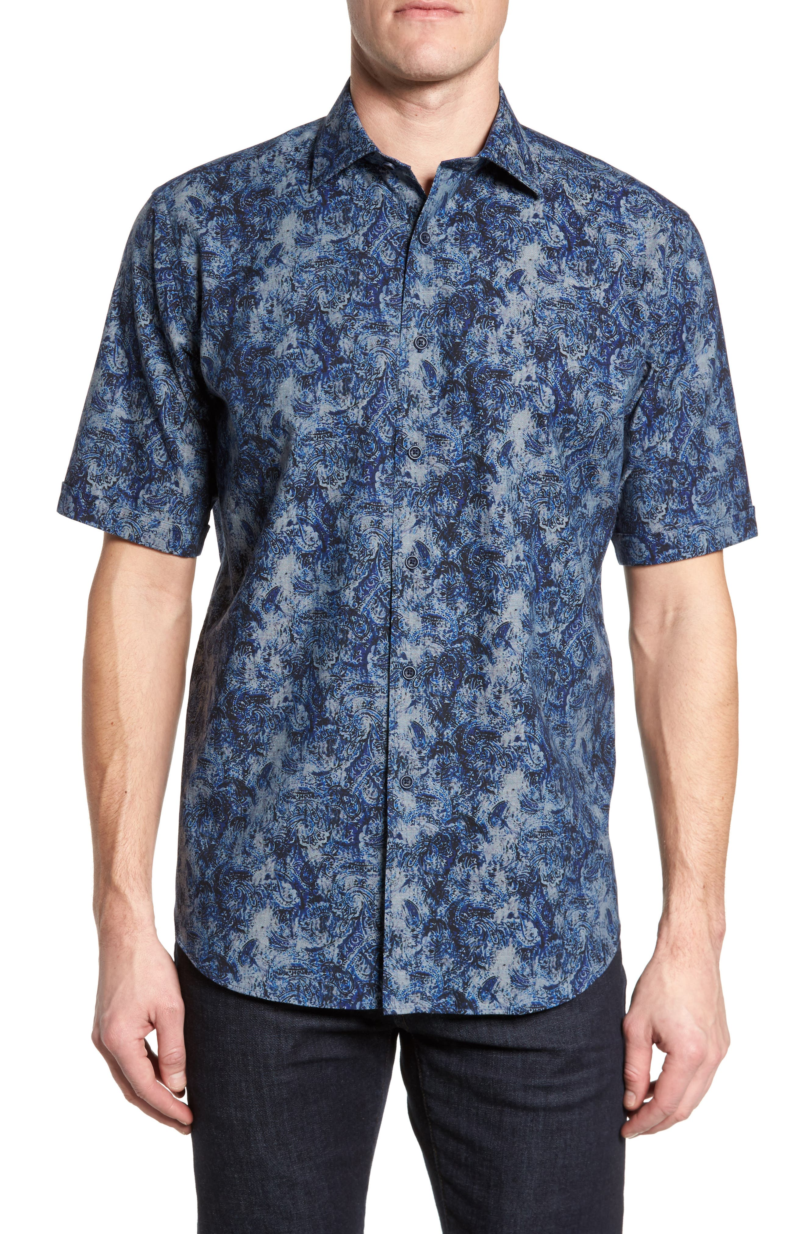Classic Fit Print Sport Shirt,                         Main,                         color, Denim