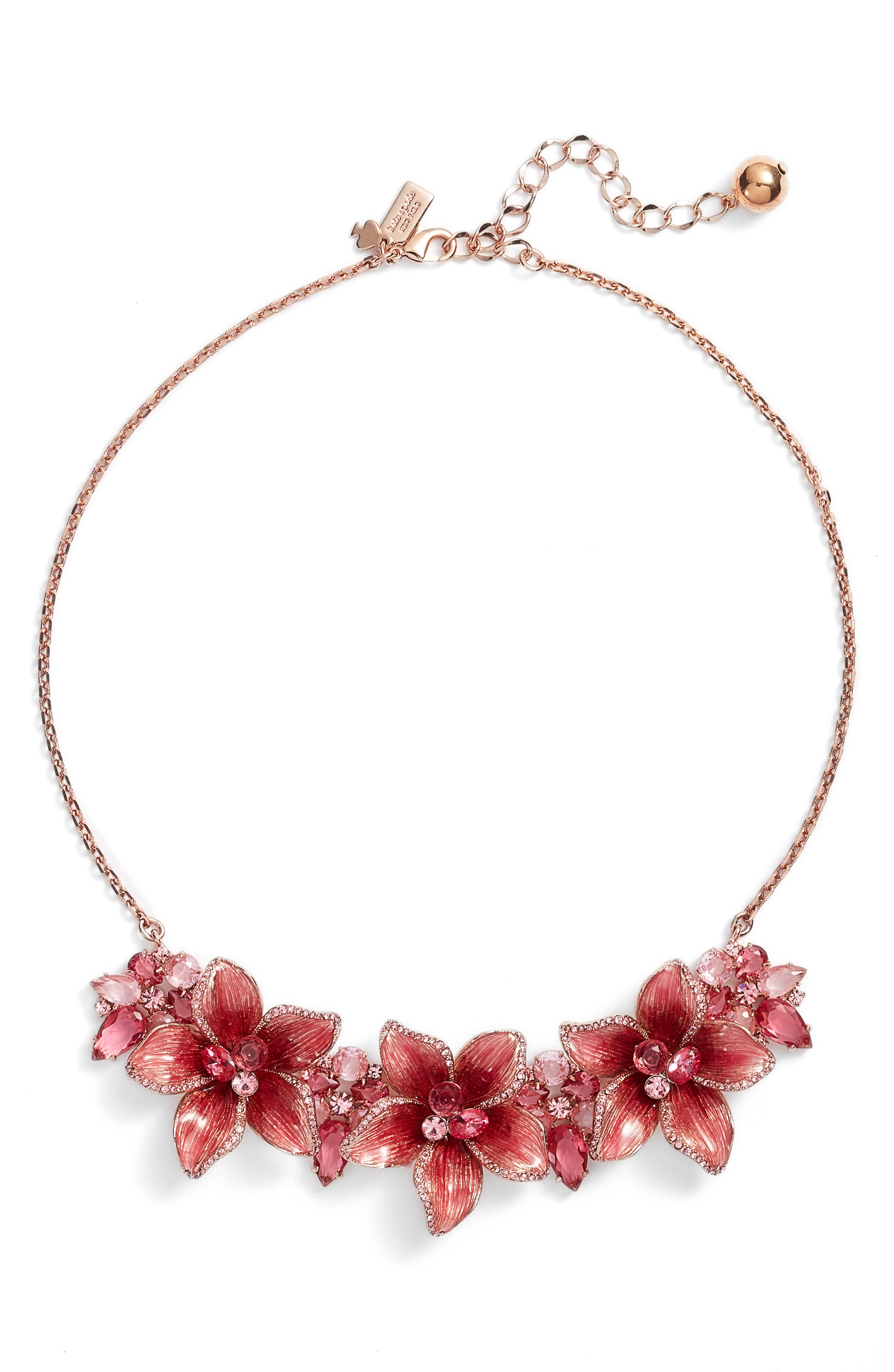 winter garden statement necklace,                         Main,                         color, Pink Multi