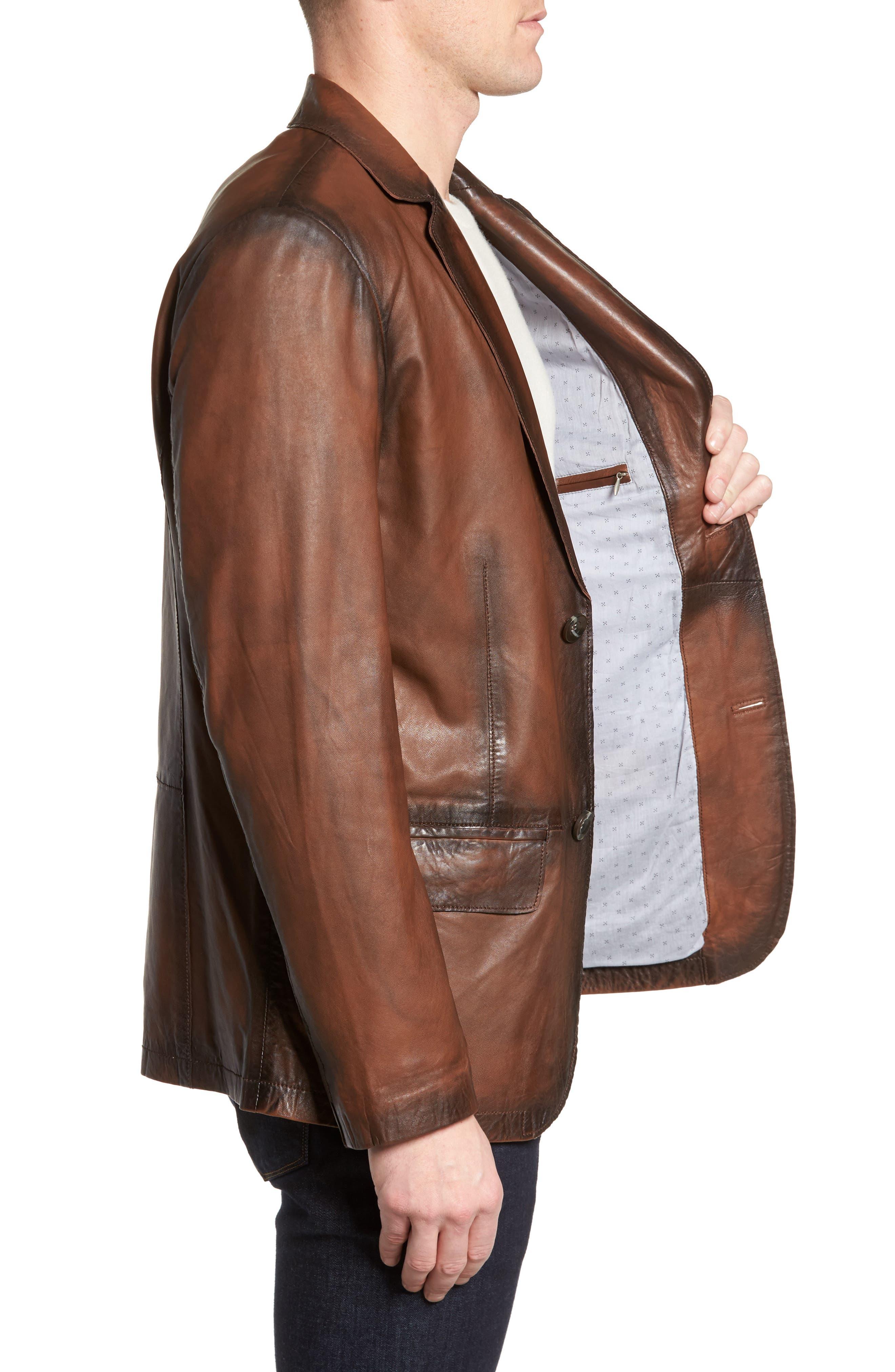 Vintage Leather Blazer,                             Alternate thumbnail 3, color,                             Brown